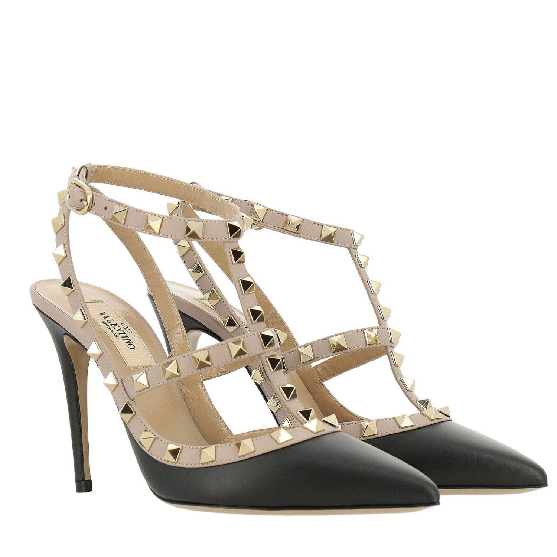 bd6361e08bc3 ... Valentino Garavani Pumps Valentino Rockstud Ankle Strap In Smooth  Leather With Metal Studs - Black ...