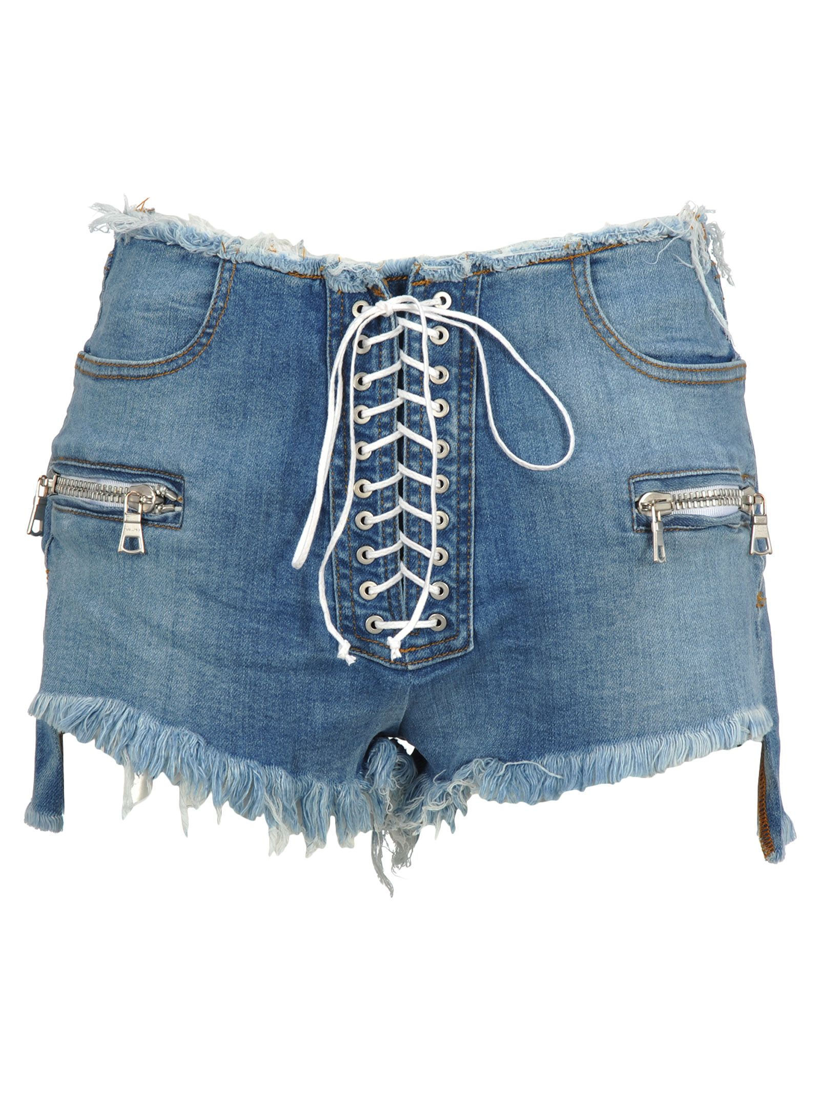 71b884a01f Ben Taverniti Unravel Project Unravel Unravel Project Lace-up Denim Shorts  - LIGHT BLUE ...