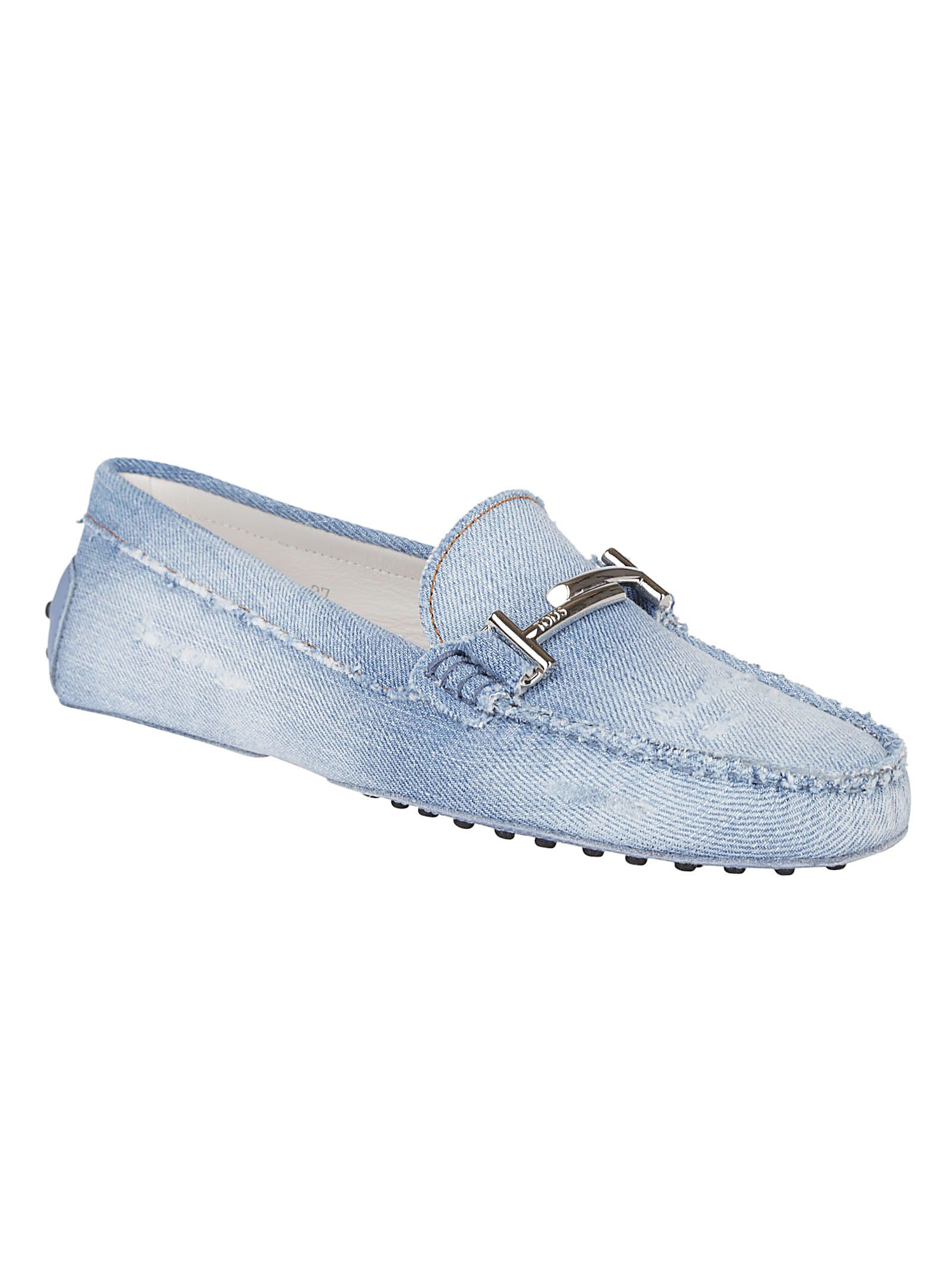 ba75645704e Tod s Distressed Denim Loafers - Blue Tod s Distressed Denim Loafers - Blue  ...