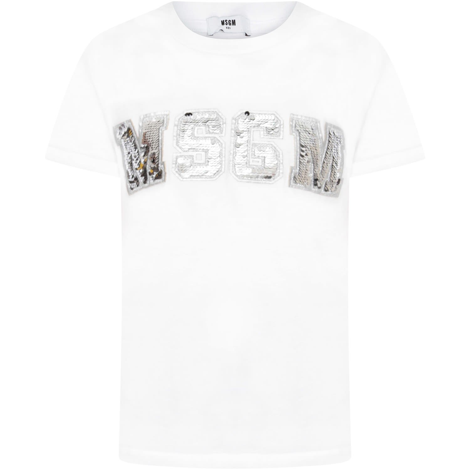 7bed2a46 MSGM MSGM White Girl T-shirt With Silver Sequined Logo - White ...