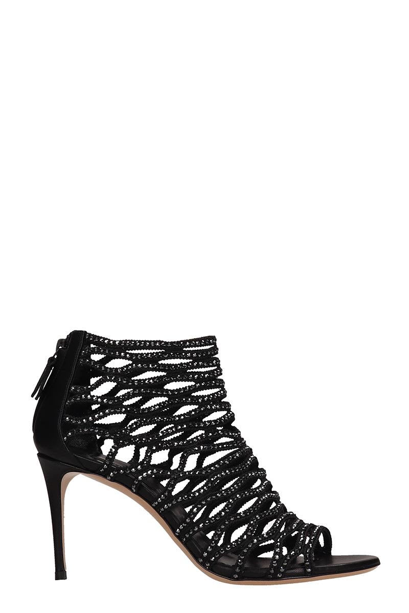 927afa7e7732 Casadei Casadei Crystals Net Black Suede Sandals - Black - 10858766 ...