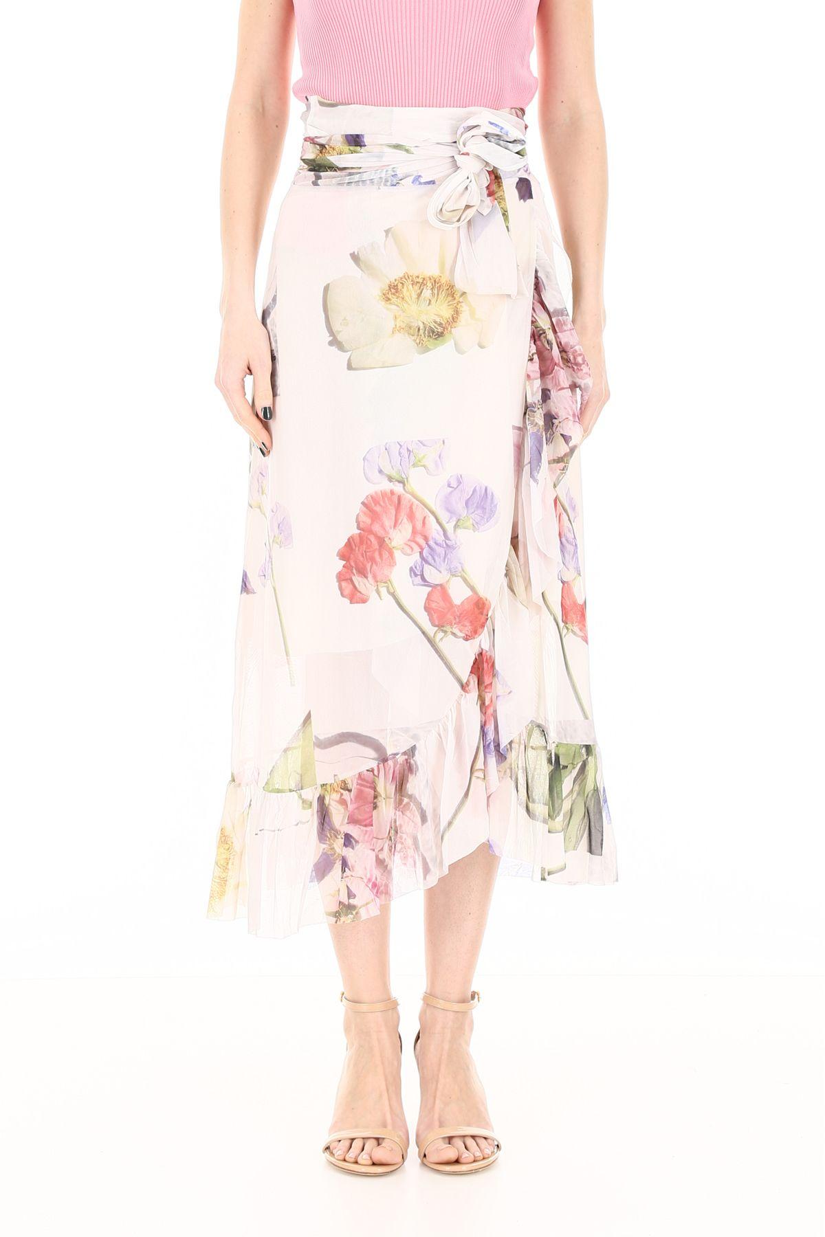 58ad18efaa Ganni Ganni Floral-printed Wrap Dress - BRIGHT WHITE