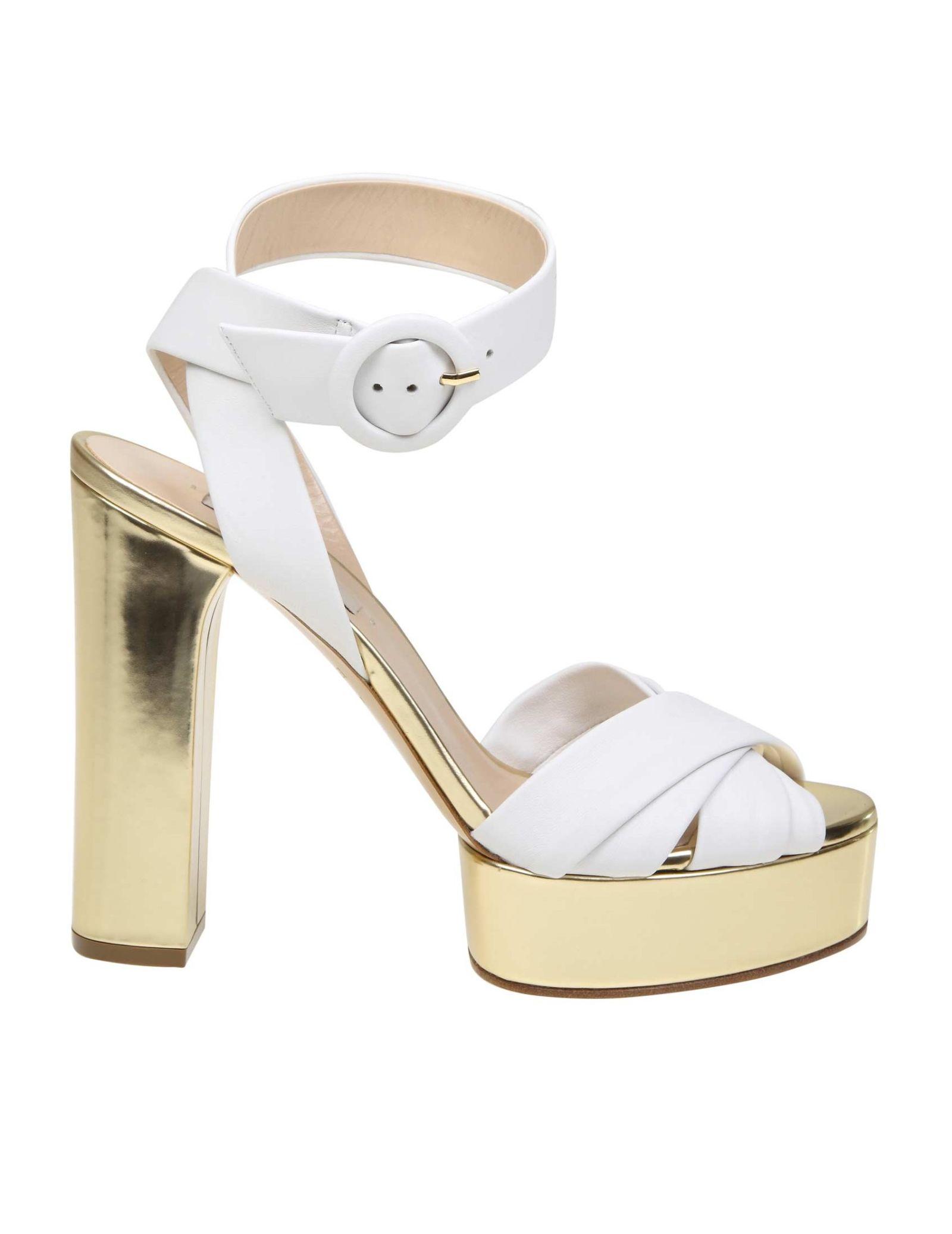 fe8feb42a4f31 Casadei Casadei White Nappa Sandals White Color - White   Gold ...