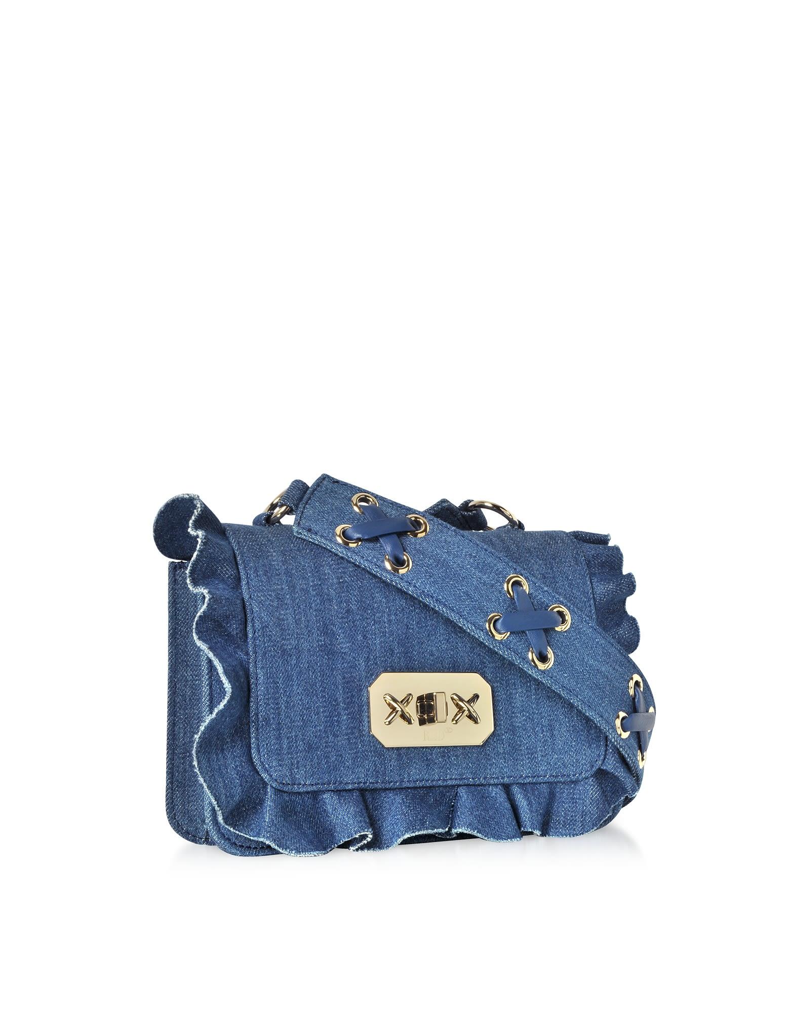 e09761de1dc2 RED Valentino Red Valentino Blue Denim Small Ruffle Shoulder Bag ...
