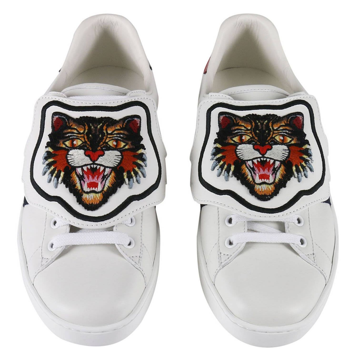5550291499f Gucci Sneakers Ace Sneakers With Embroidered Angry Cat Removable Patches  And Web Bands - White - 7741167