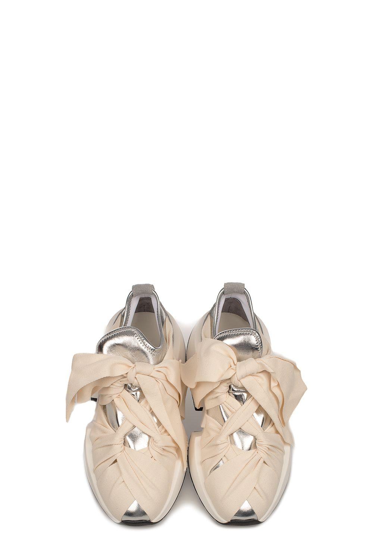 9ce46836e625 ... MM6 Maison Margiela Ivory silver Metallic Faux Leather Slip On Wedge  Sneakers - Basic