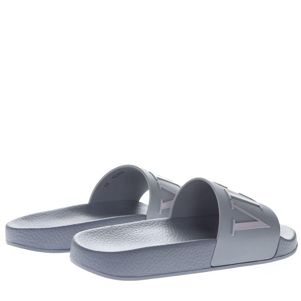 fb79011586a2 Valentino Garavani Valentino Garavani Pearl Gray Vltn Slide Sandals ...
