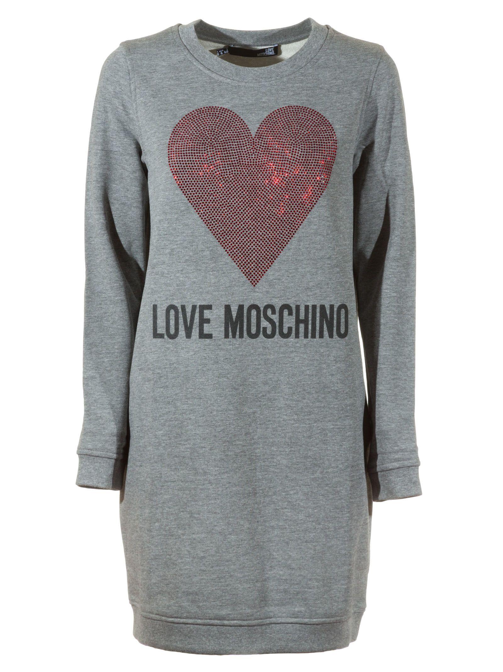 41649125905 Love Moschino Love Moschino Sequined Heart Sweater Dress - Grey ...