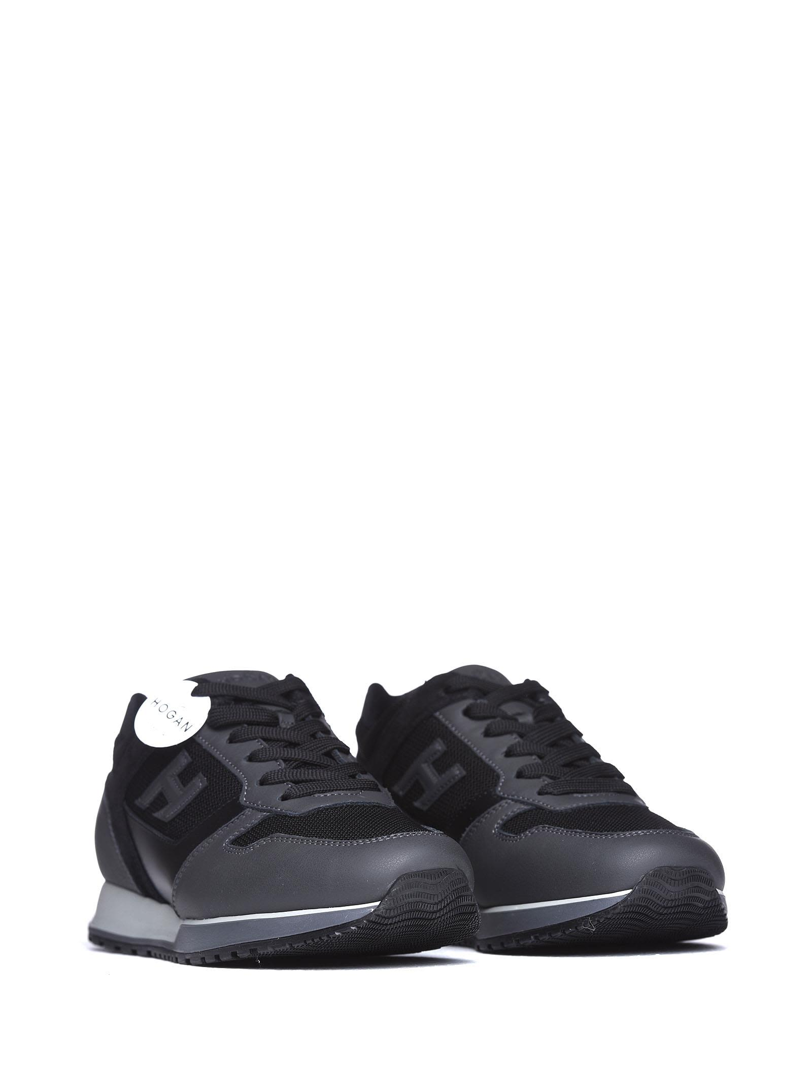 Hogan Hogan H321 Grey And Black Sneakers - NERO CATRAME - 10704086 ... 9b0d38bcd89d