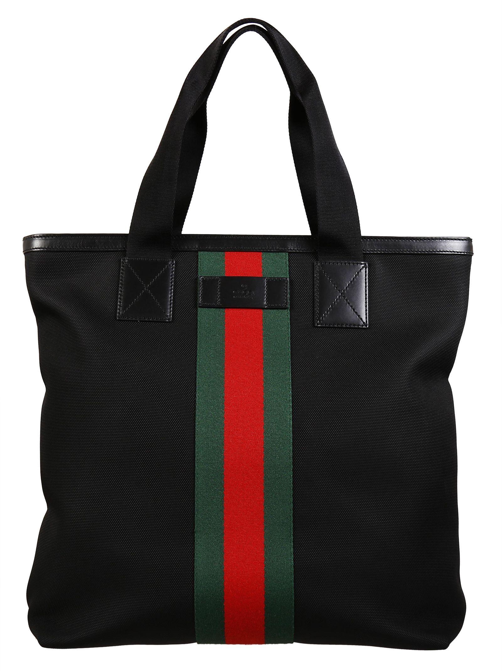 c973d6f5d8d1 Gucci Gucci Web Band Canvas Tote Bag - Black - 373855