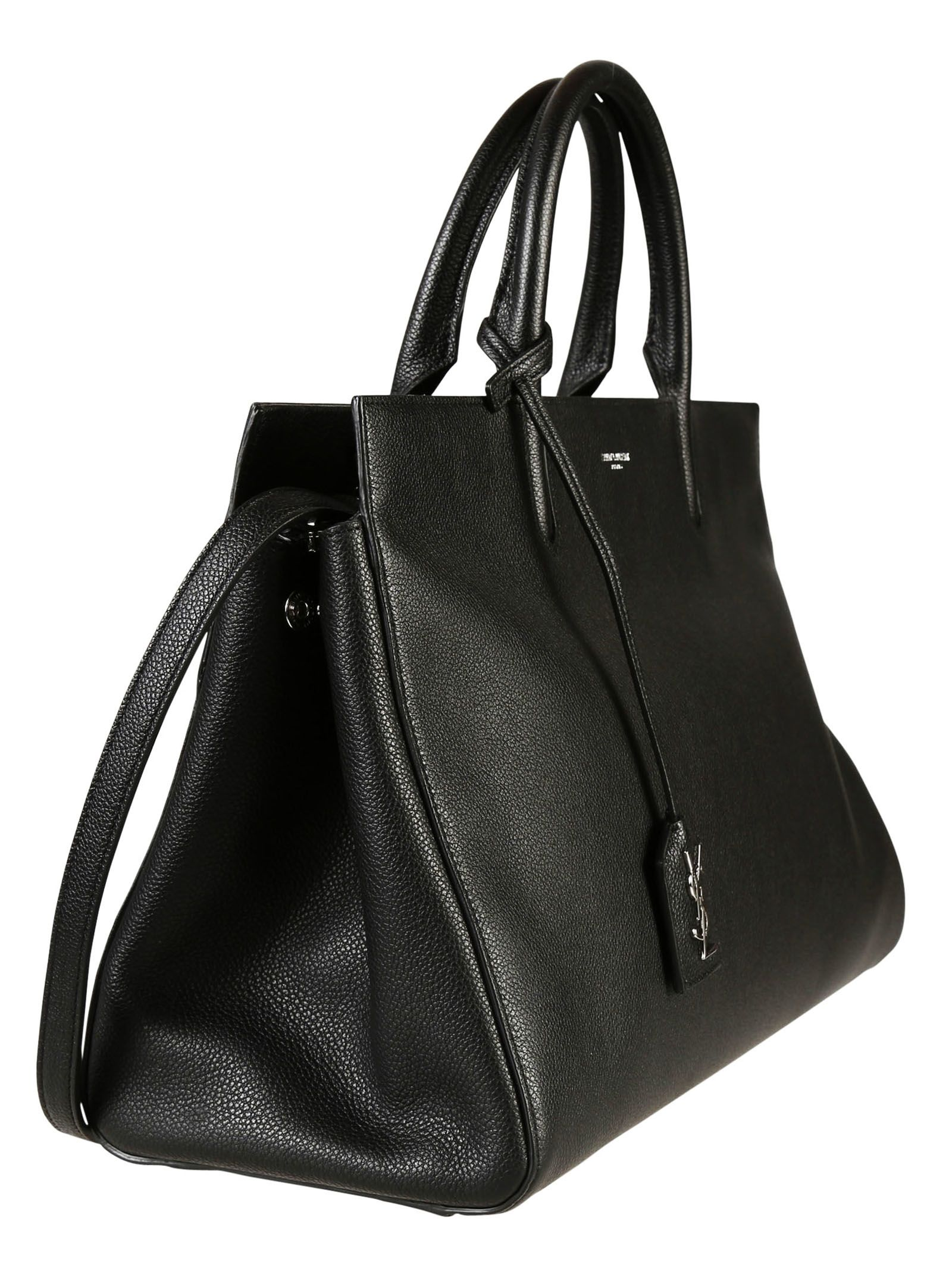 865f618be4 Saint Laurent Saint Laurent Medium Cabas Rive Gauche Bag in Black Grained  Leather - 373889