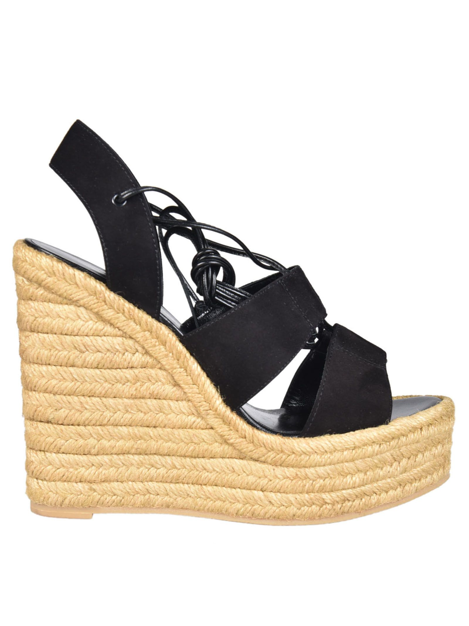 0f0318fad6f Saint Laurent Saint Laurent Espadrille Wedge Sandals - Black ...