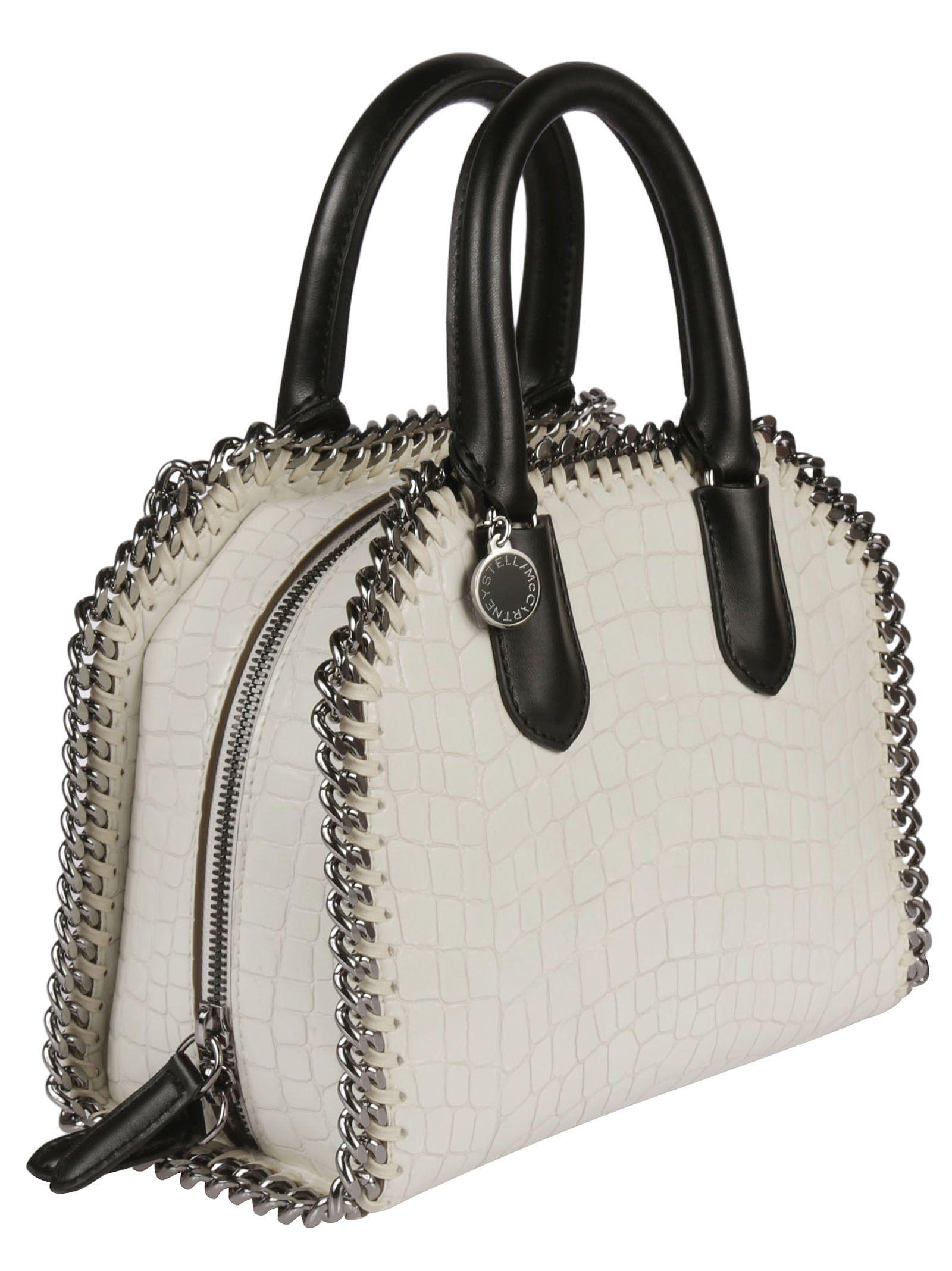 7fabc4d446 ... Stella McCartney Mini Falabella Snakeskin Effect Shoulder Bag - White  ...