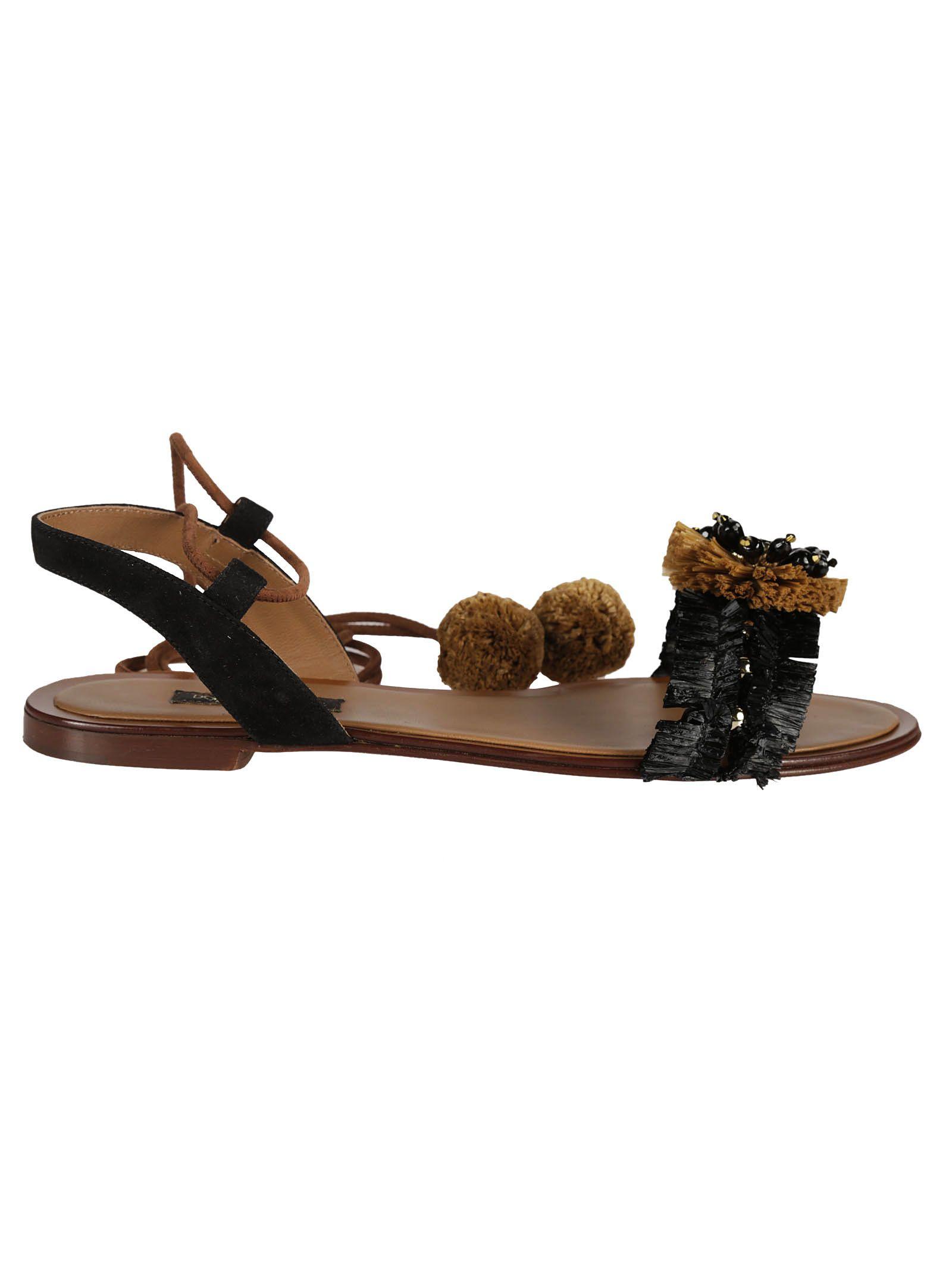863109855 Dolce & Gabbana Raffia Embellished Flat Sandals - Black/Brown ...