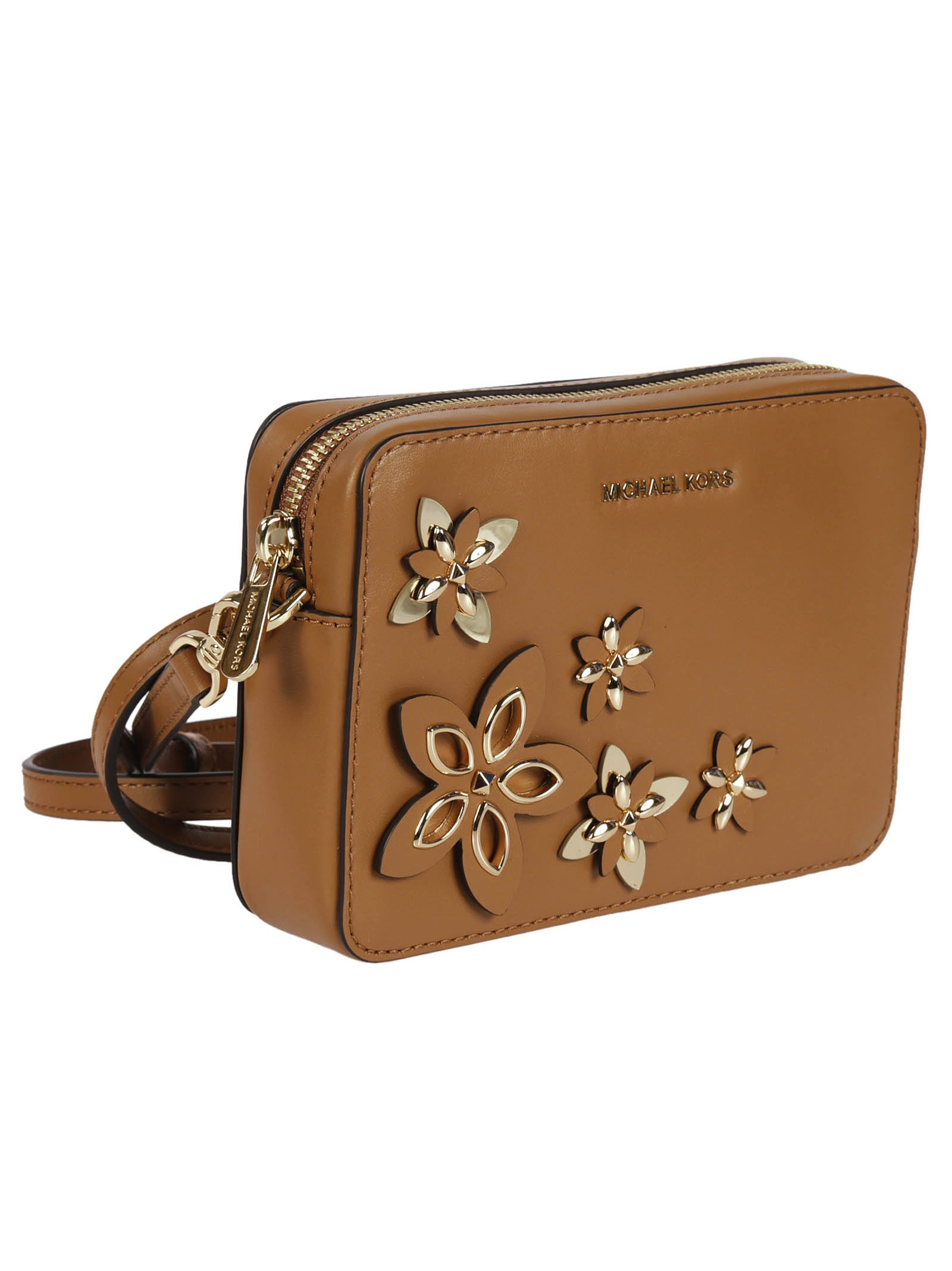 5b9ddf6e3d42 Michael Kors Michael Kors Floral Applique Shoulder Bag - Acorn - 6704562