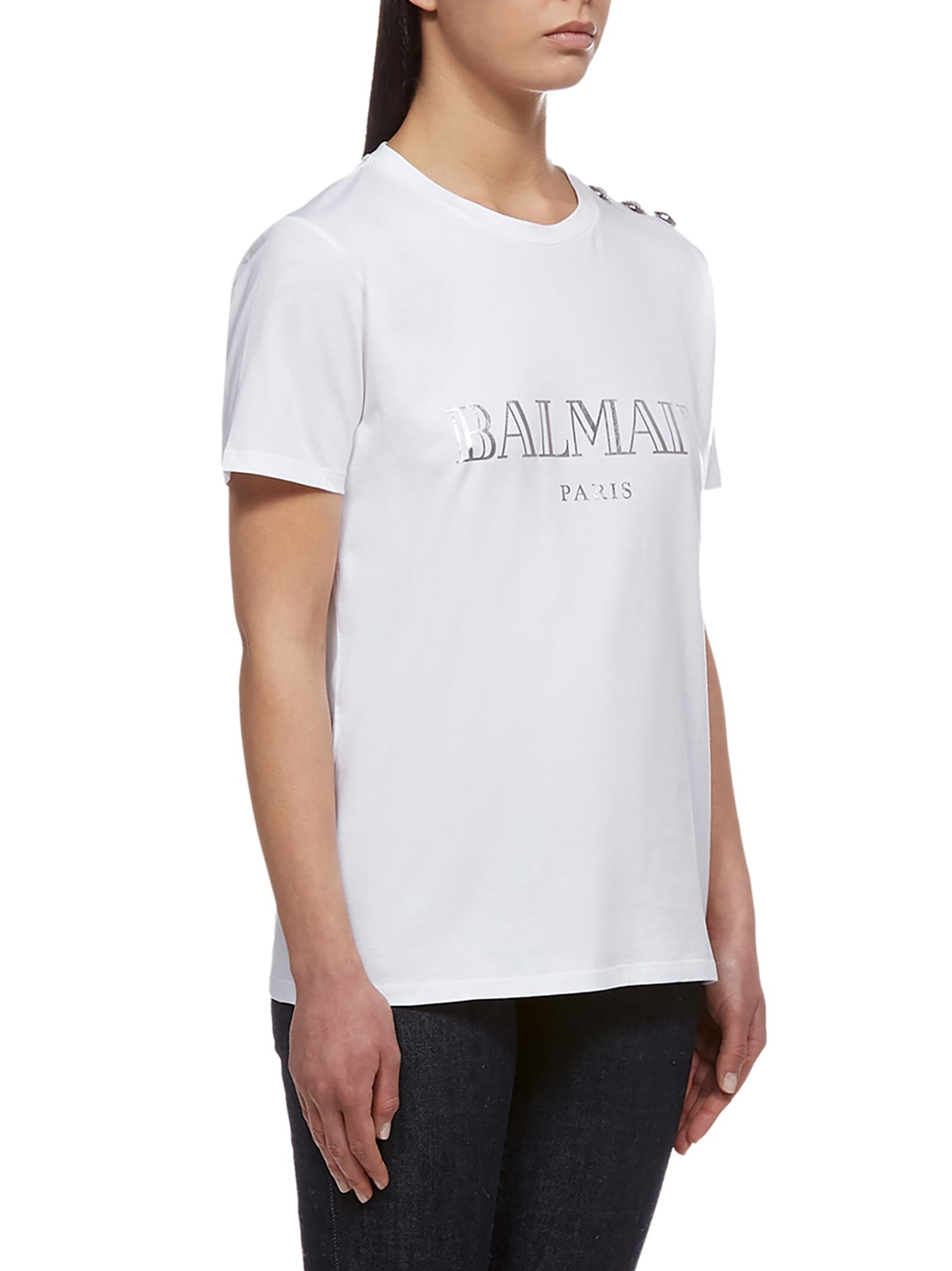 cbd39984c Balmain Balmain Short Sleeve T-Shirt - Bianco argento - 10864974 ...