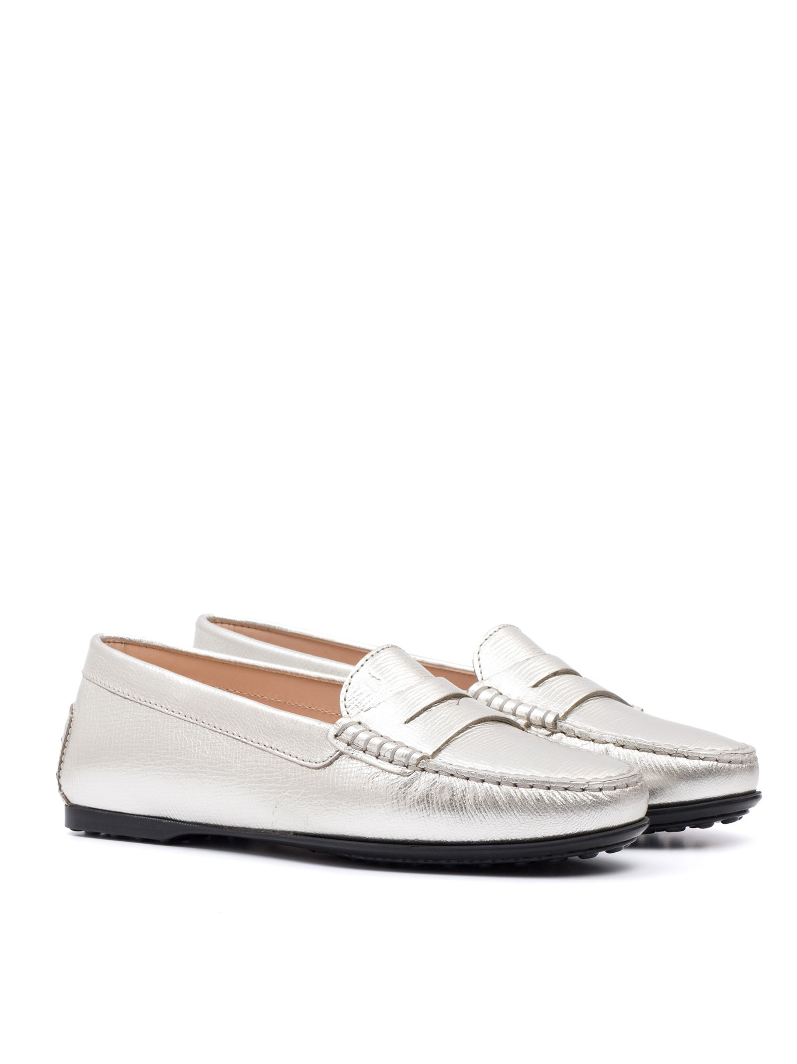 e0ab3eb9802 Tod s City Gommino Loafers In Leather - Silver - 7723110