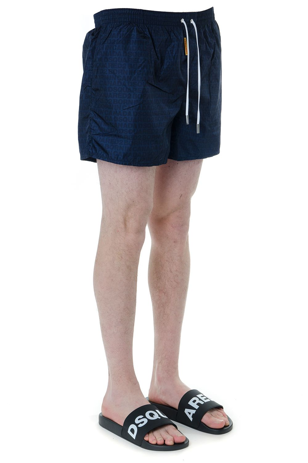 6fcee636bc ... Dsquared2 Blue Logo Print Swim Shorts In Technical Fabric - Navy ...