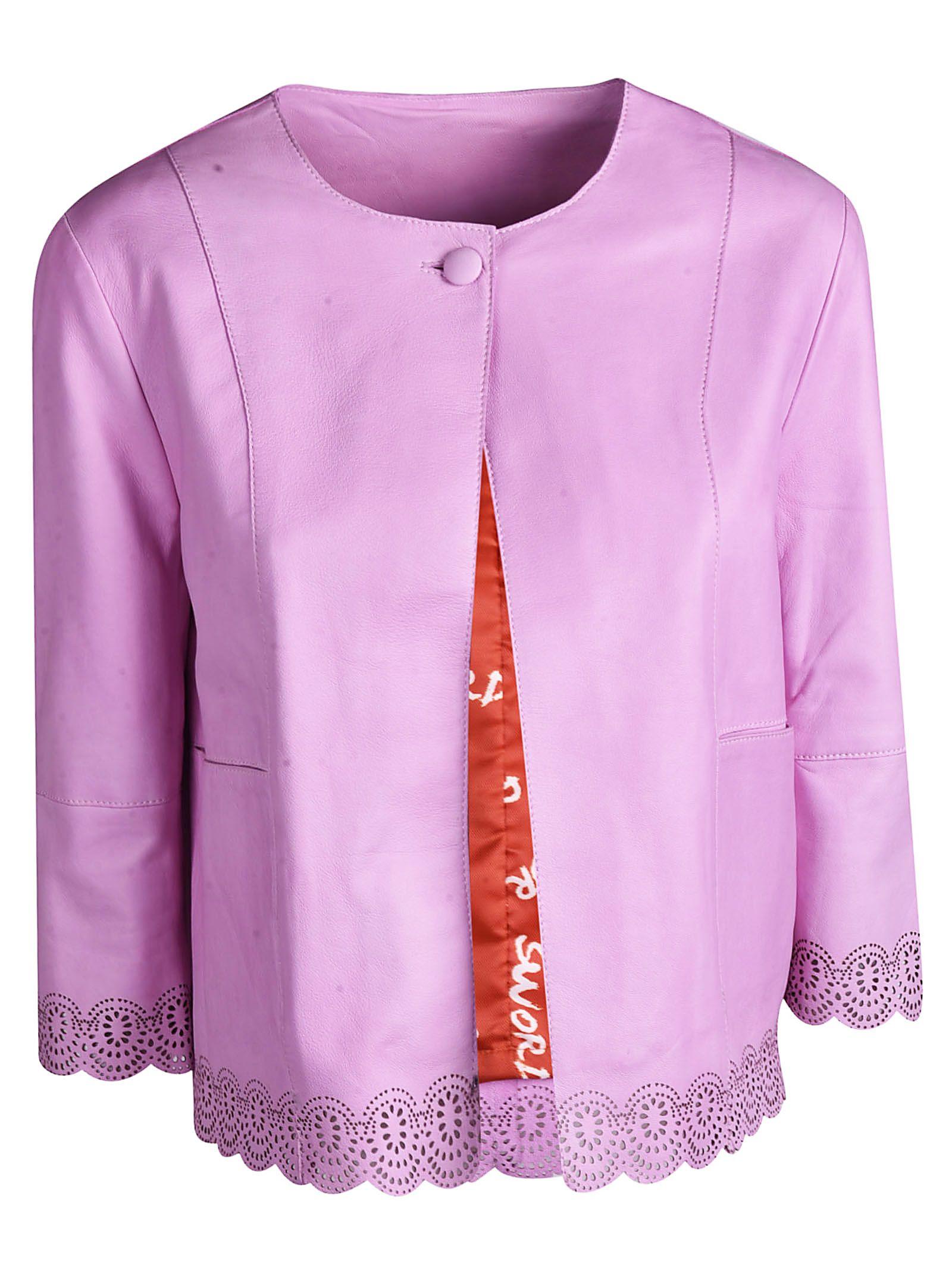 d67b8d5dc6d6 S.W.O.R.D 6.6.44 S.w.o.r.d 6.6.44 Cropped Leather Jacket - Pink ...