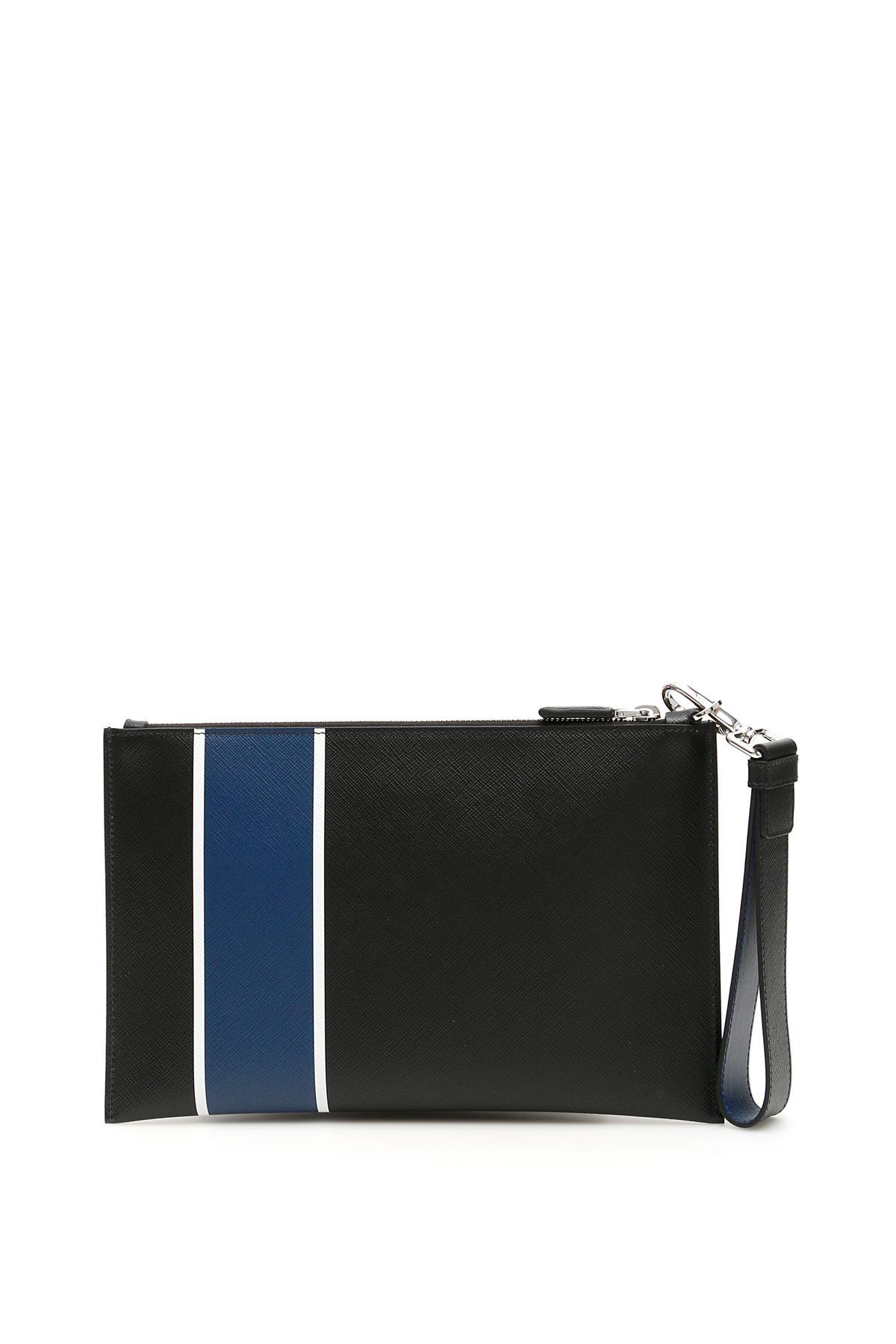 8ee548f6c6ff71 Prada Prada Saffiano Stripe Pouch - NERO BLUE (Black) - 10967840 ...