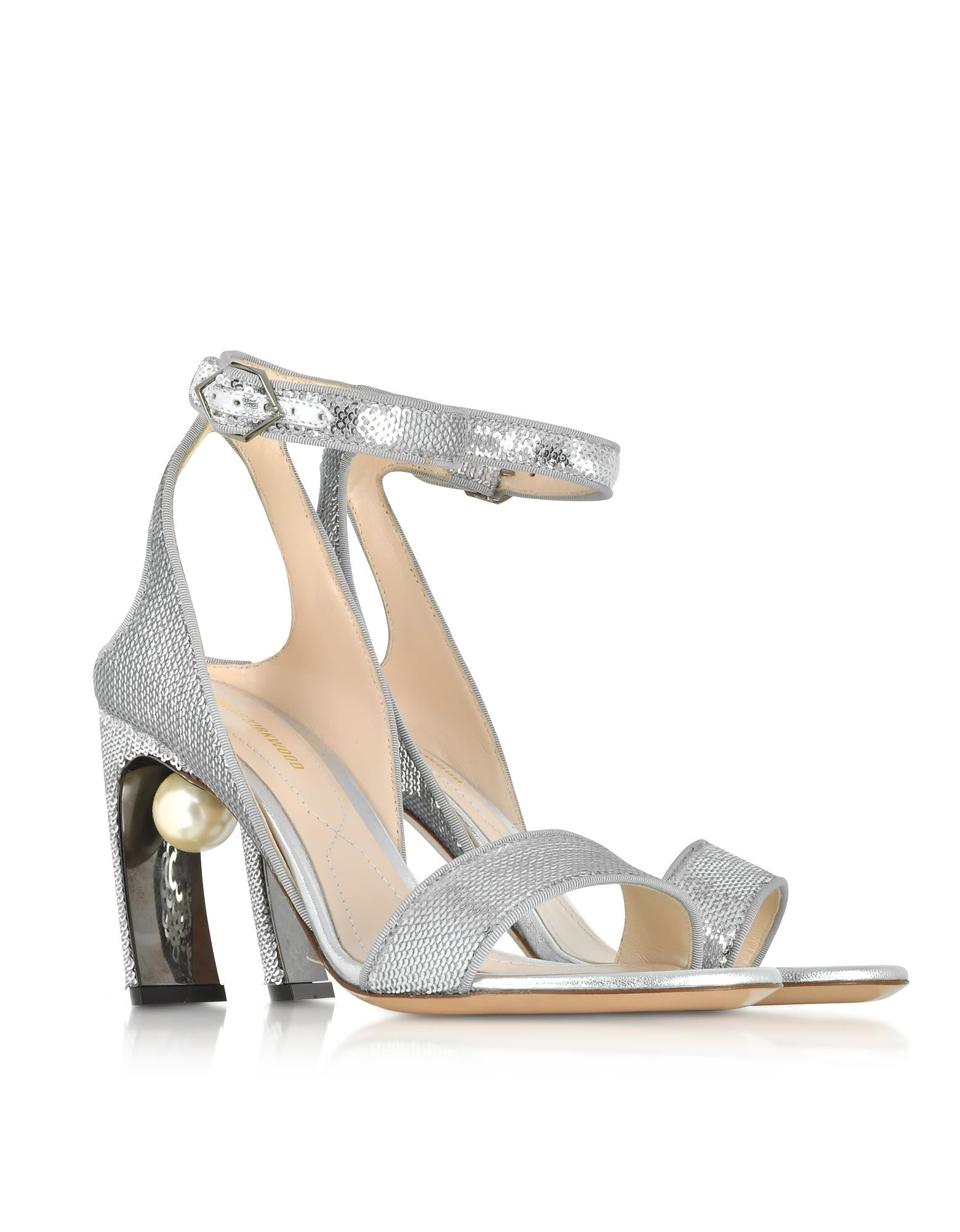 1b38eb62a9f ... Nicholas Kirkwood Silver Sequins 90mm Lola Pearl Sandals - Silver ...