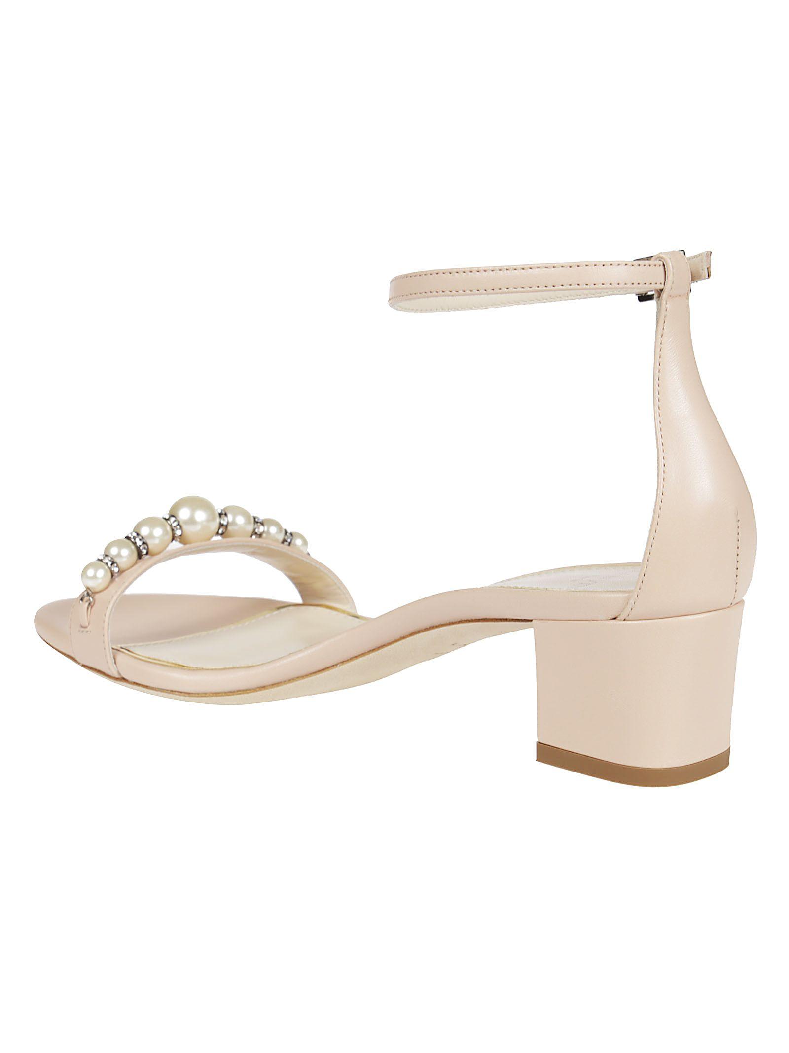Lanvin Lanvin Pearl Embellished Sandals - Pink - 10554004