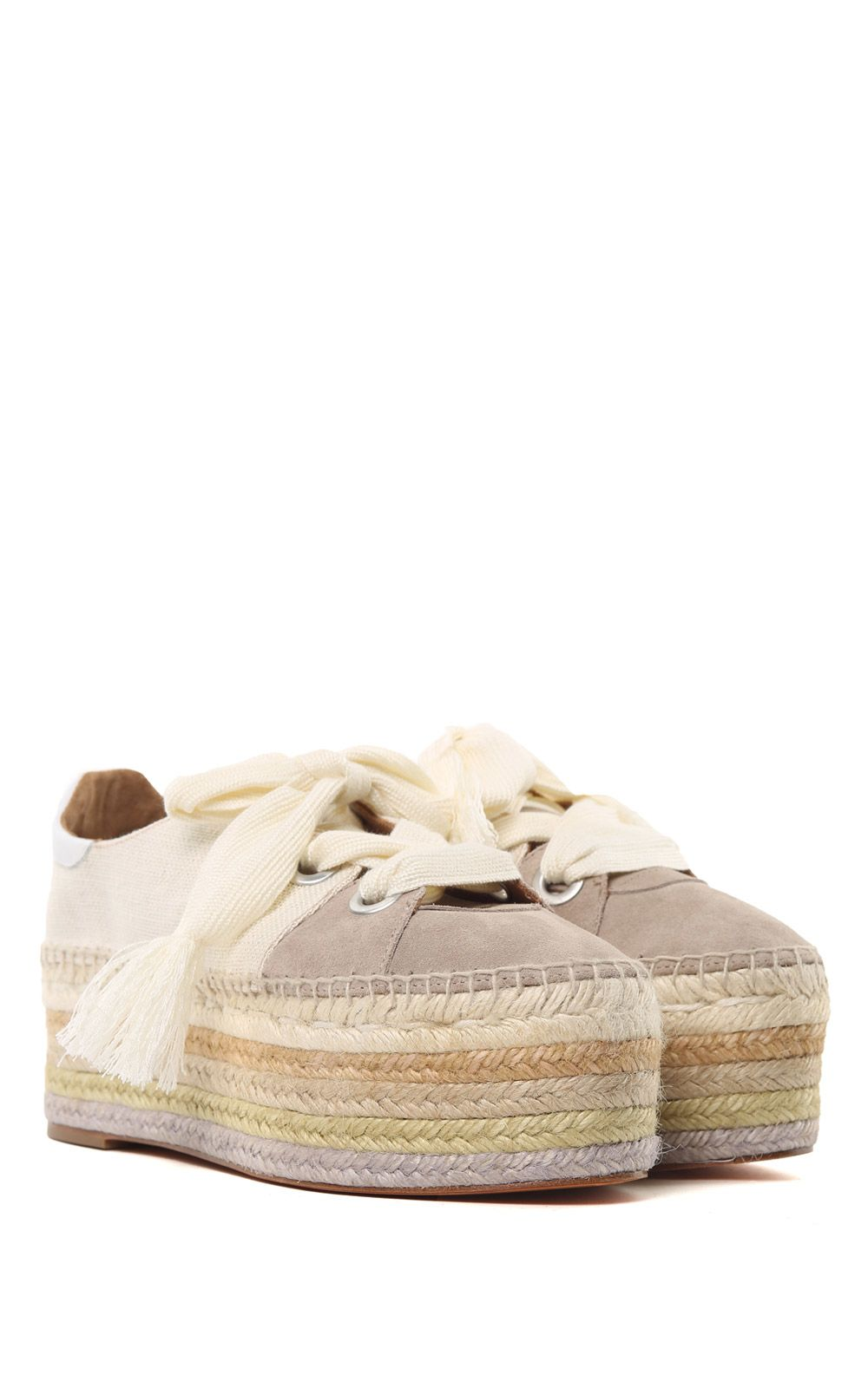 38043db1cb3 ... See by Chloé Qai Suede And Canvas Platform Espadrille Sneakers - Beige  ...