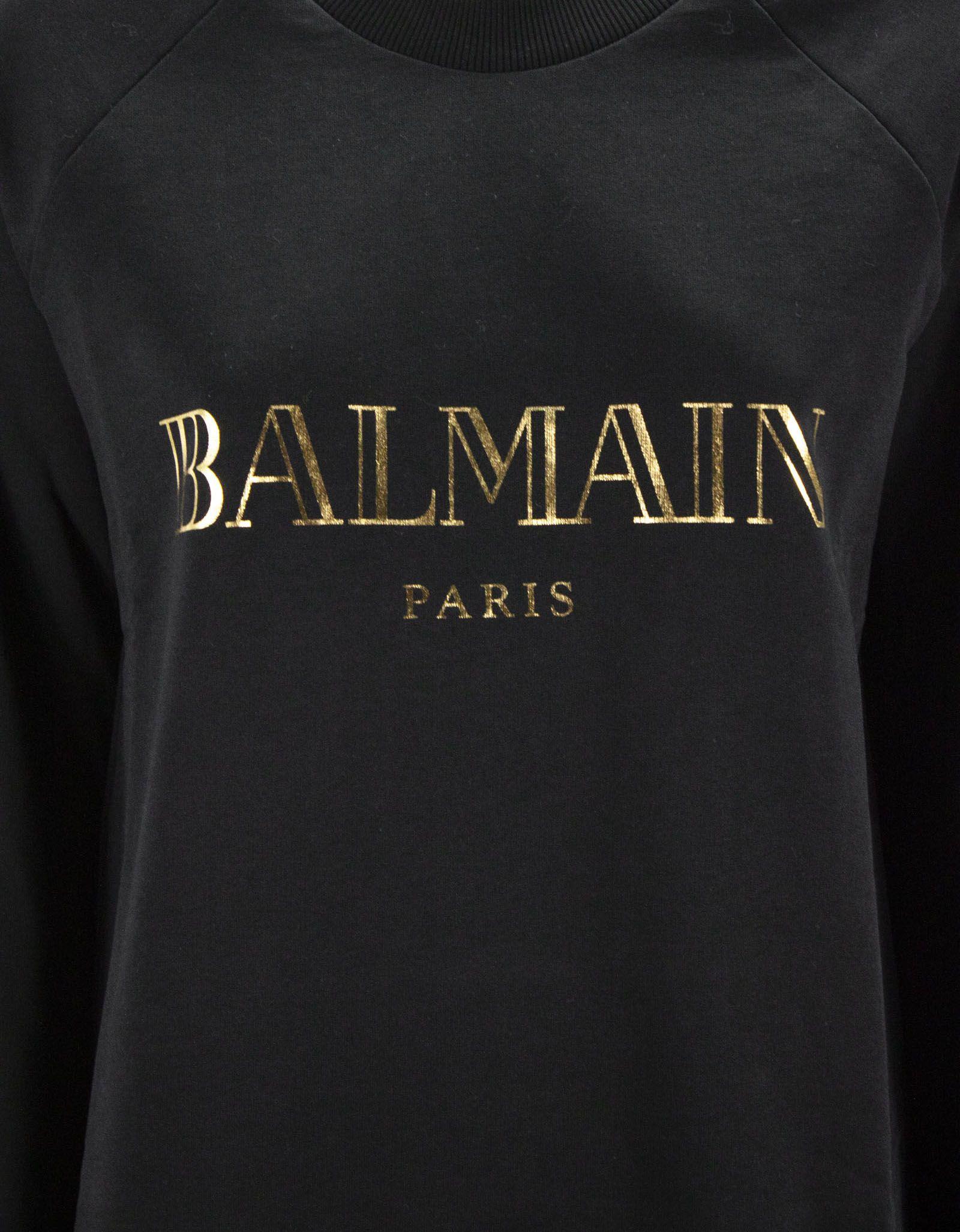 05c48bcb Balmain Balmain Black And Gold Cotton Sweatshirt - Nero - 10832143 ...
