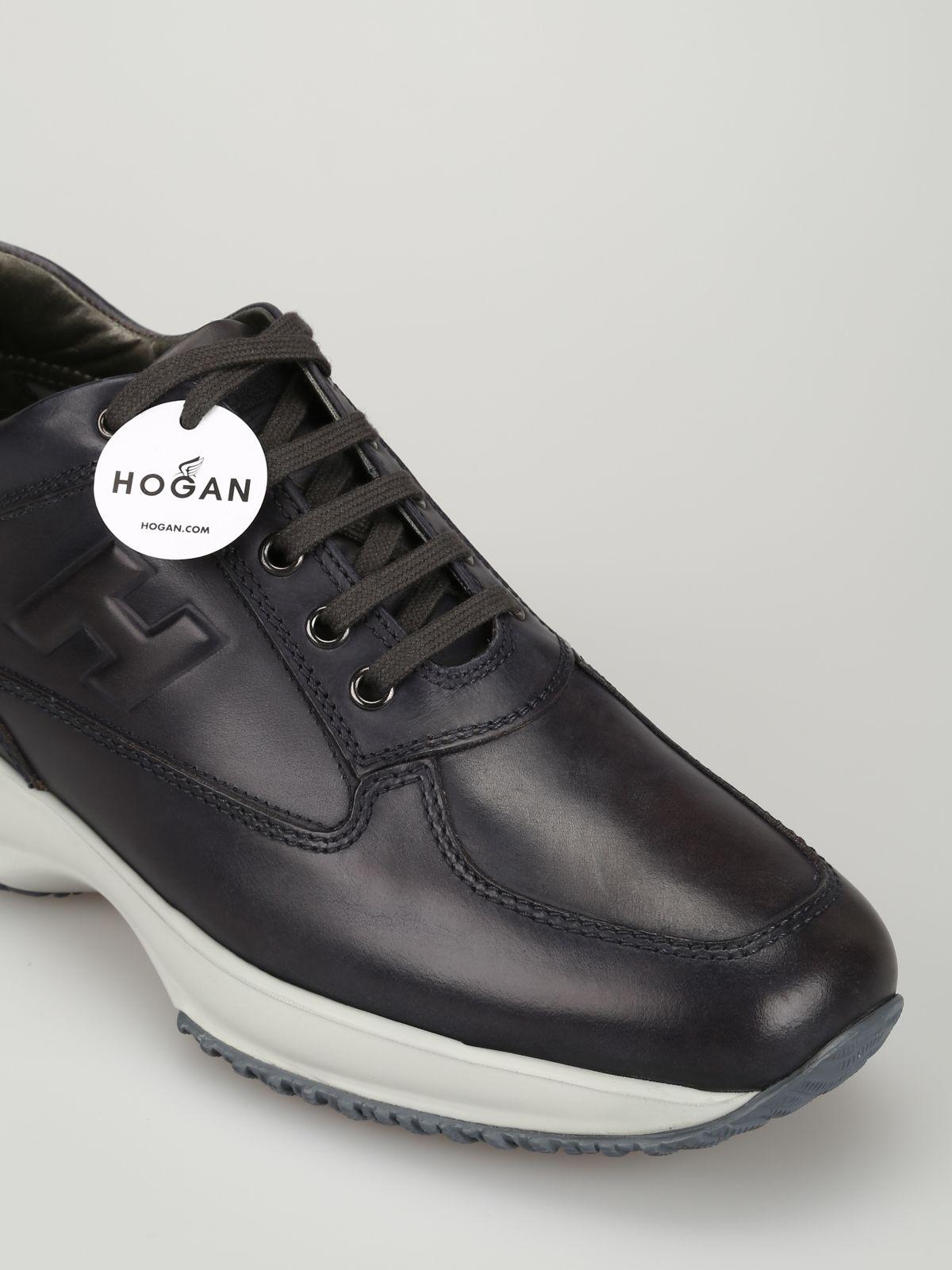 7fc530cb97 ... Hogan Slate Black Leather Interactive Sneakers Hxm00n09041kbob804 -  Ardesia ...