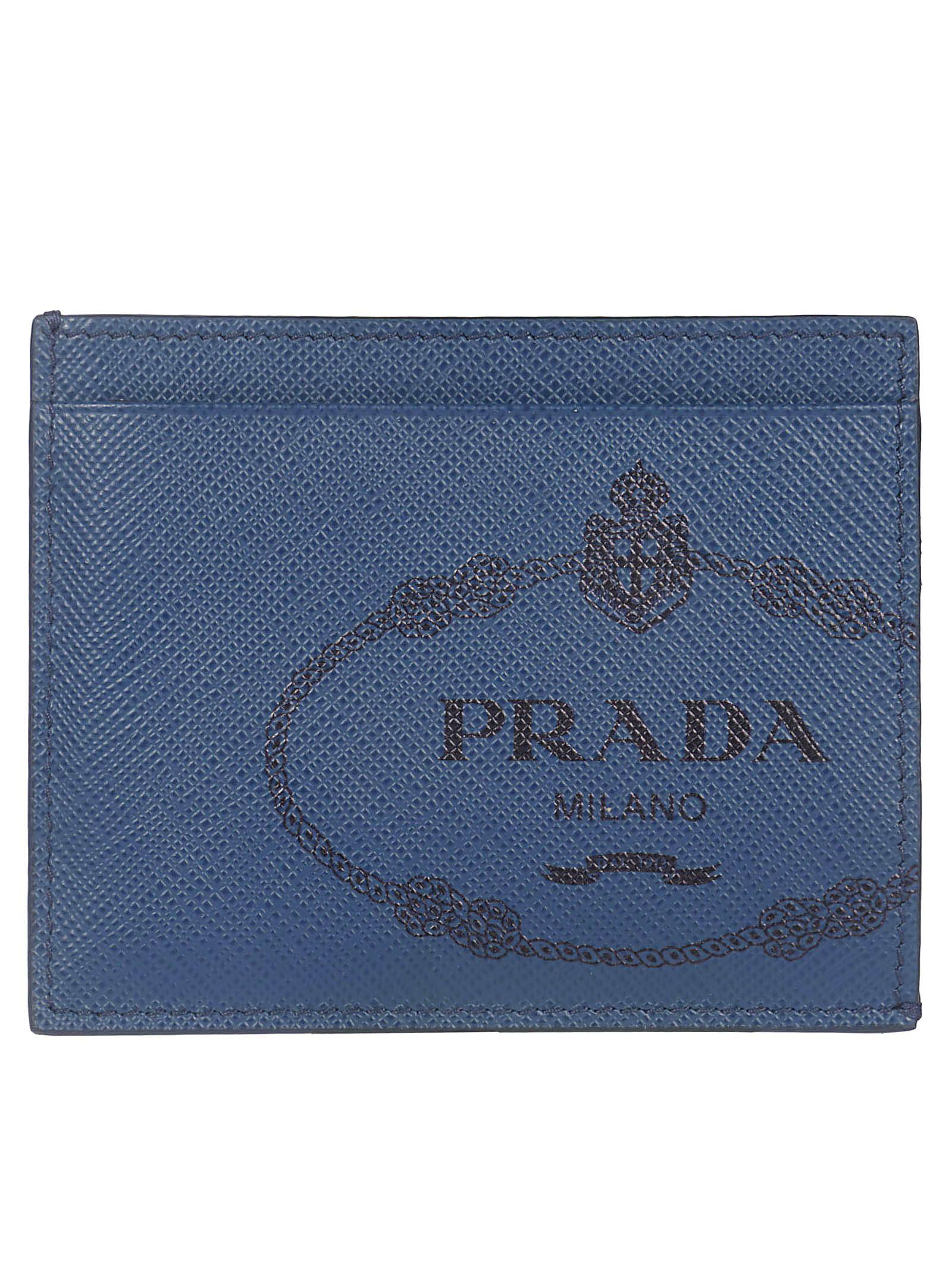 f43f6585e298 Prada Prada Logo Print Card Holder - Blue - 10930752   italist