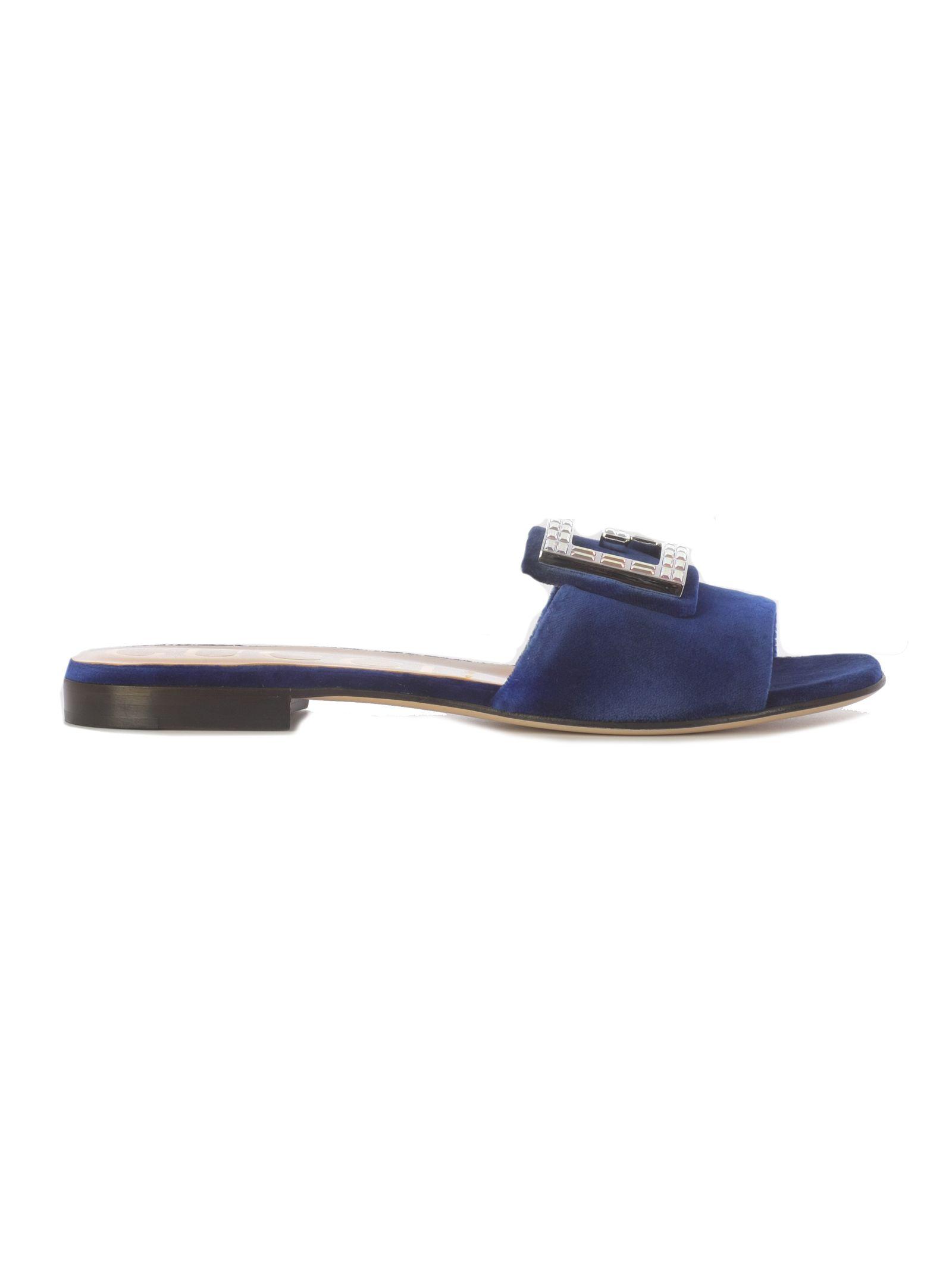 528d8246c759 Gucci Logo Flat Sandals - Cobalt ...