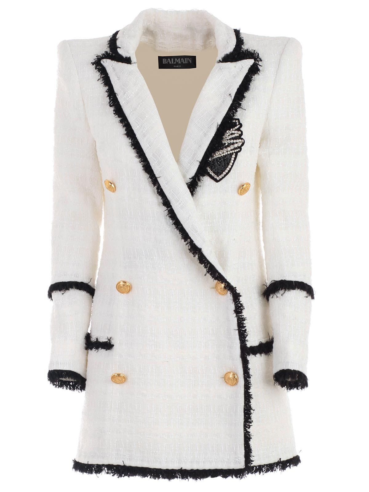 2e3b67a2 Balmain Balmain Double Breasted Tweed Coat - Gba White Black ...