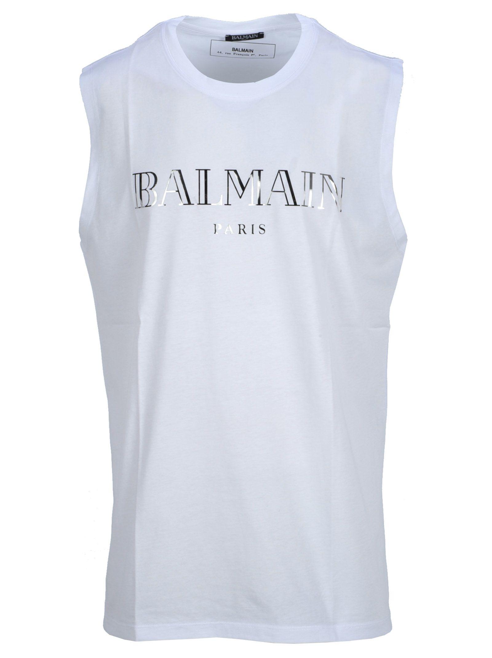 69447cc6ac66e0 Balmain Balmain Balmain Logo Print T-shirt - WHITE + SILVER ...