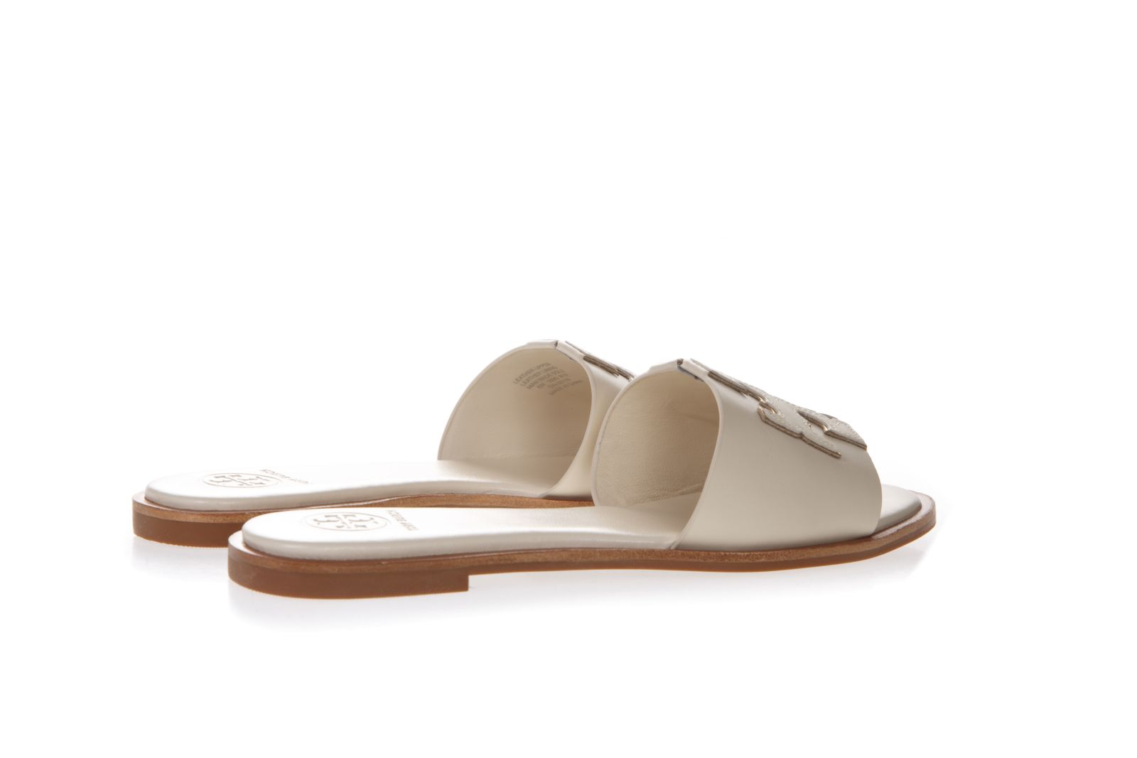 63bbf81fe ... Tory Burch Ines Cream Color Leather Embossed Logo Slipper Sandal - White  ...