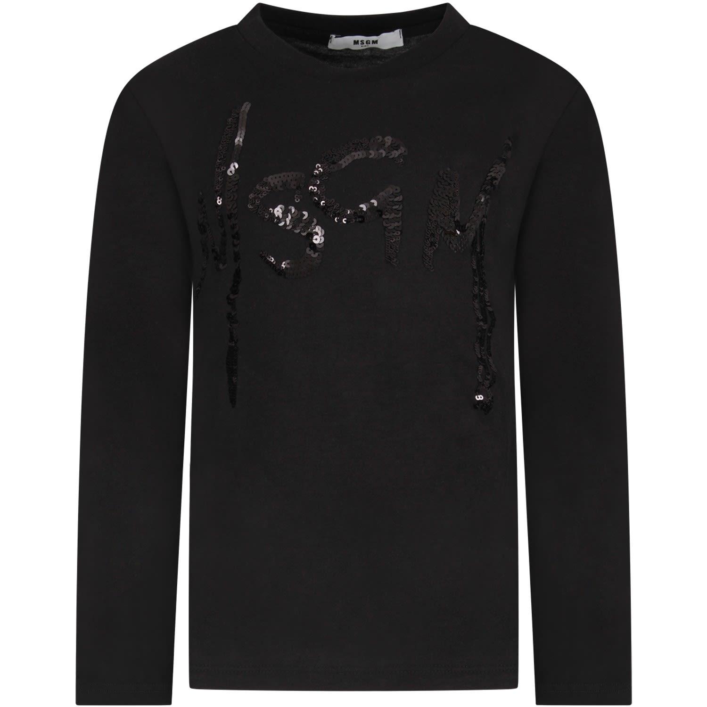 185bf410 MSGM MSGM Black Girl T-shirt With Giallo Logo - Black - 10975121 ...