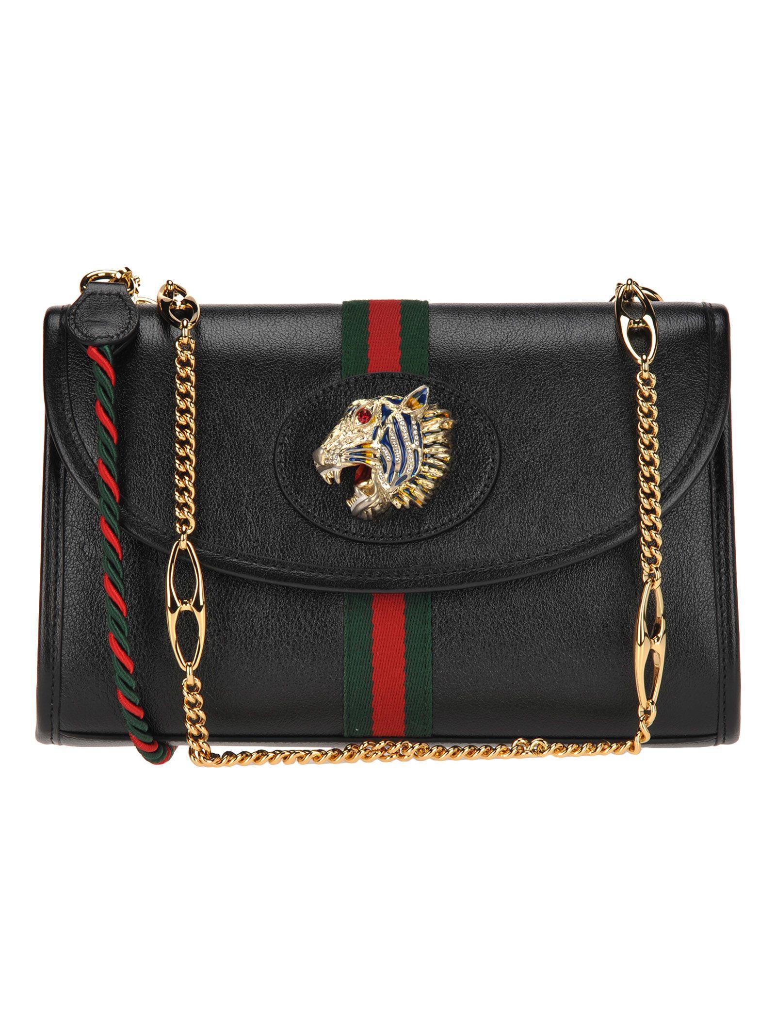 abf37a1d548 Gucci Gucci Small Shoulder Bag Rajah Web - BLACK + WEB - 10923834 ...