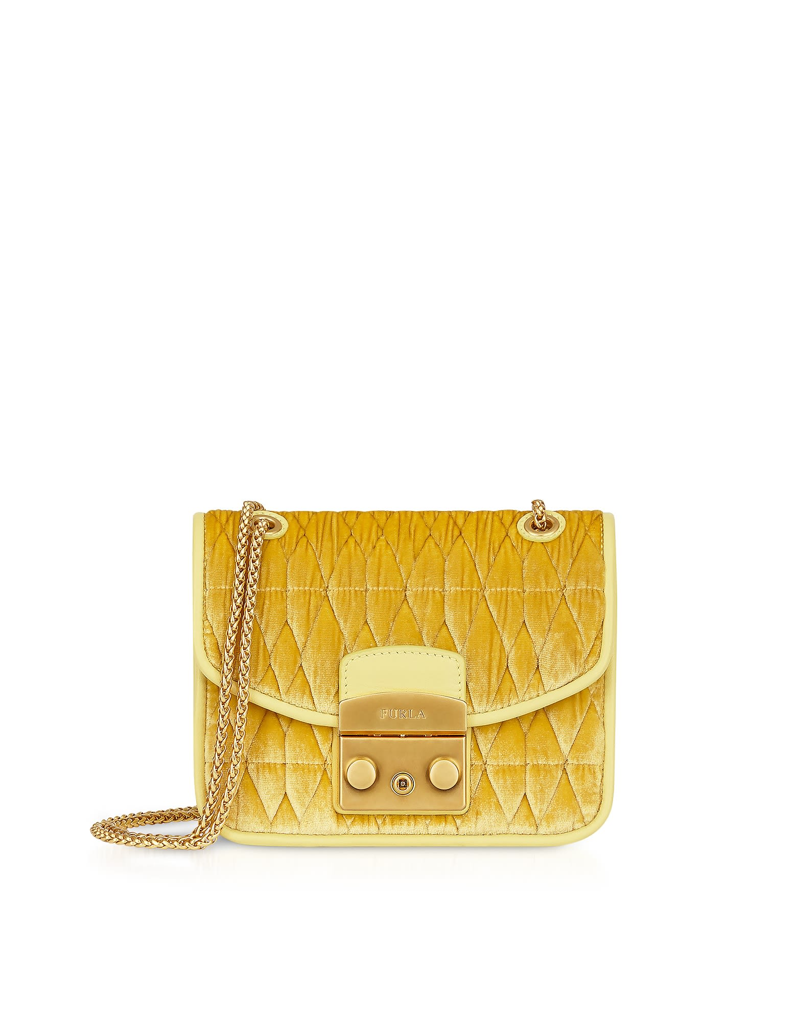 Furla Quilted Velvet Metropolis Cometa Mini Crossbody Bag - Yellow ...
