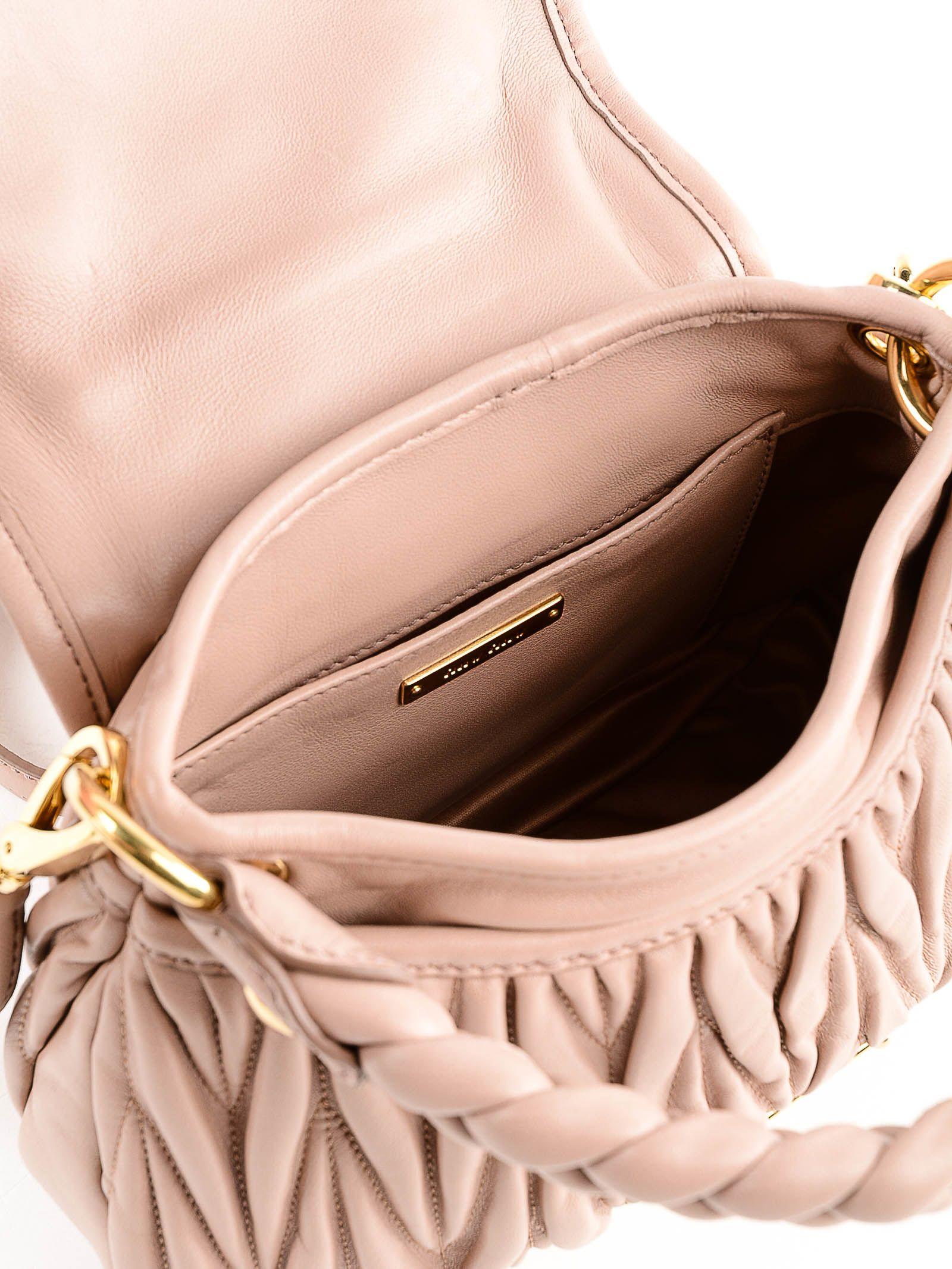 267fe9f3c21c ... Miu Miu Matelassé Embellished Shoulder Bag - Cammeo
