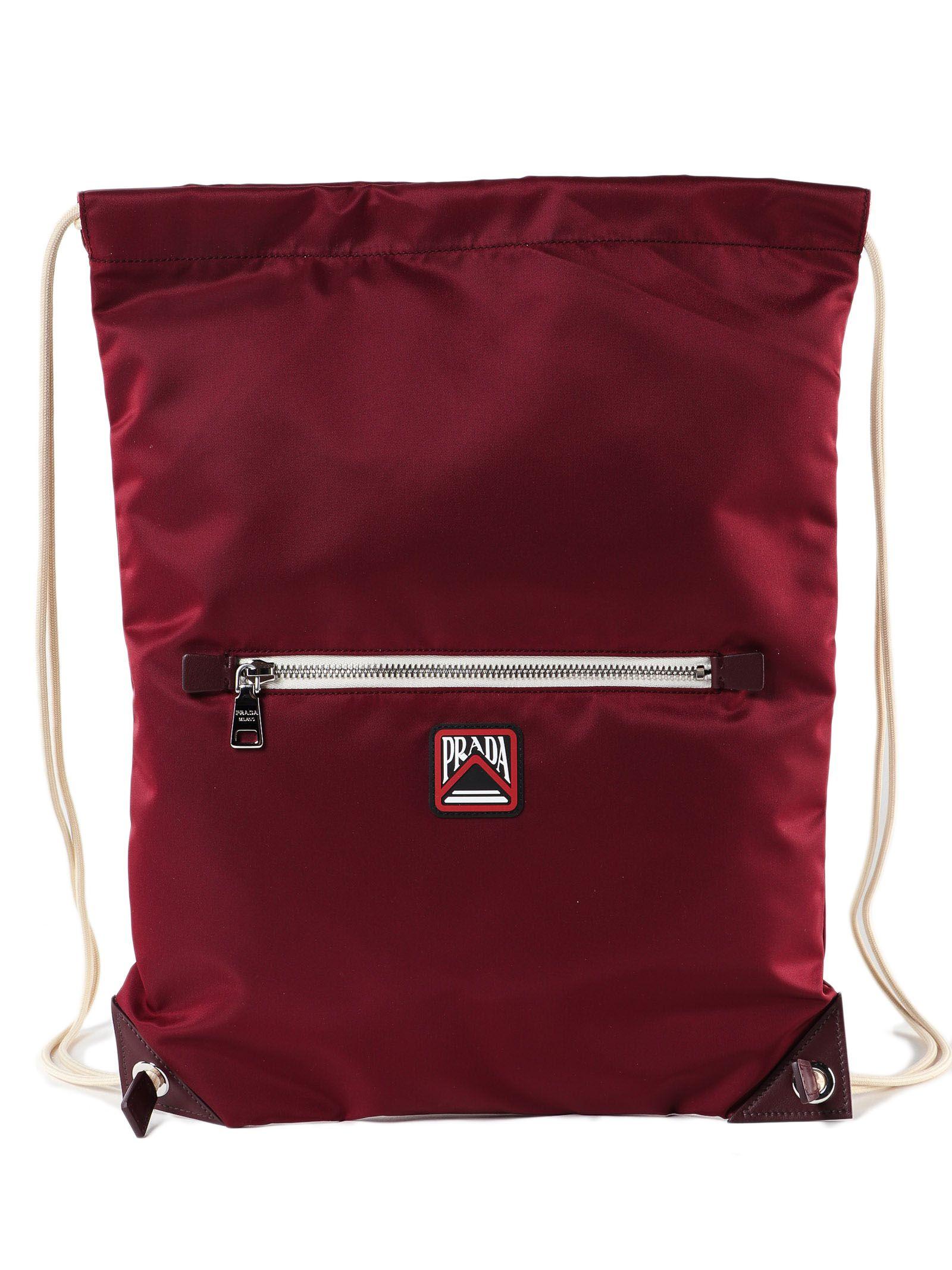 d91688eb369a Prada Prada Drawstring Backpack - Granato - 10795375 | italist