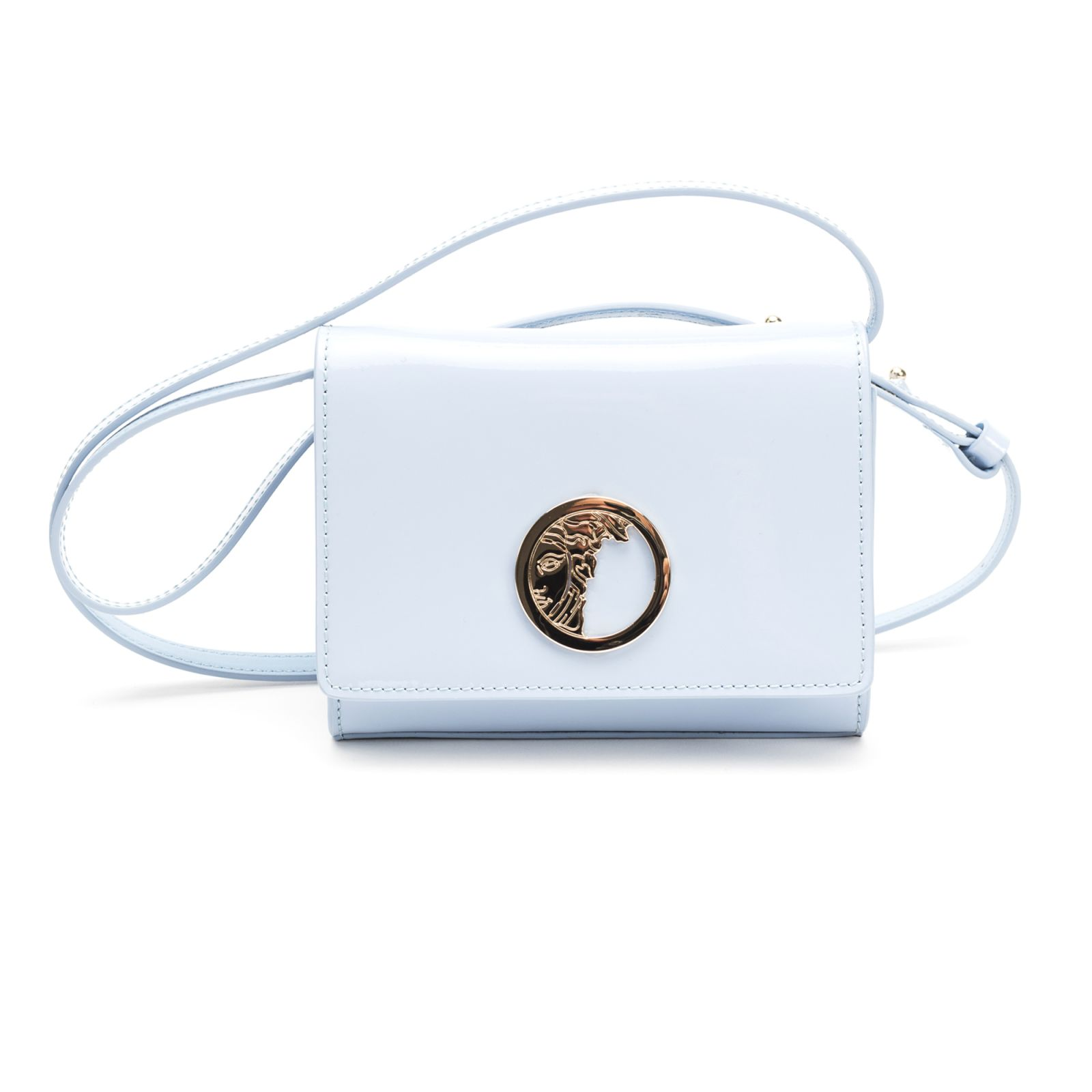 3037dc9cd3aa Versace Collection Versace Collection Patent Leather Shoulder Bag - Light  Blue ...