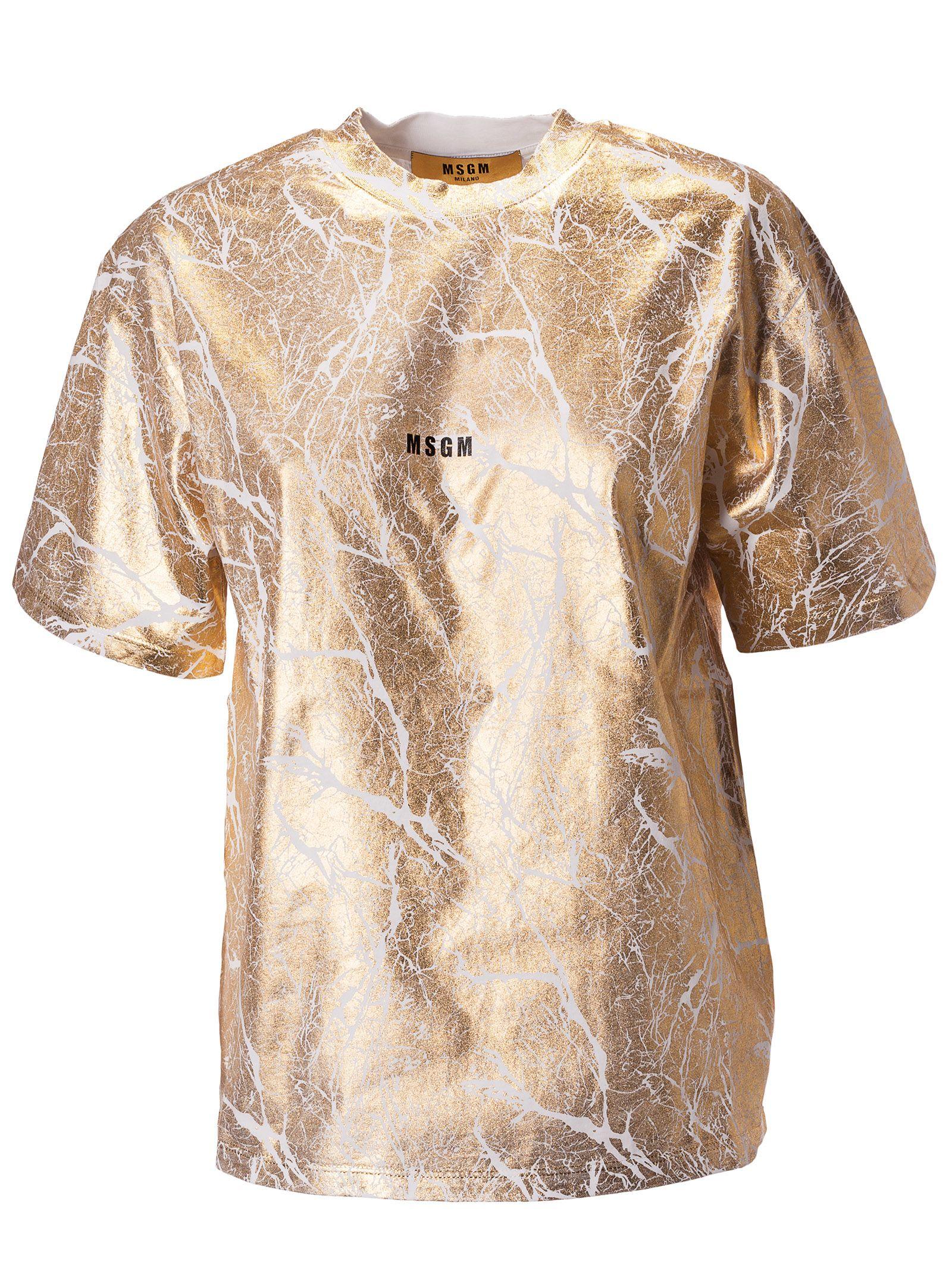 Msgm Msgm Logo Print T Shirt Whitegold 10797194 Italist