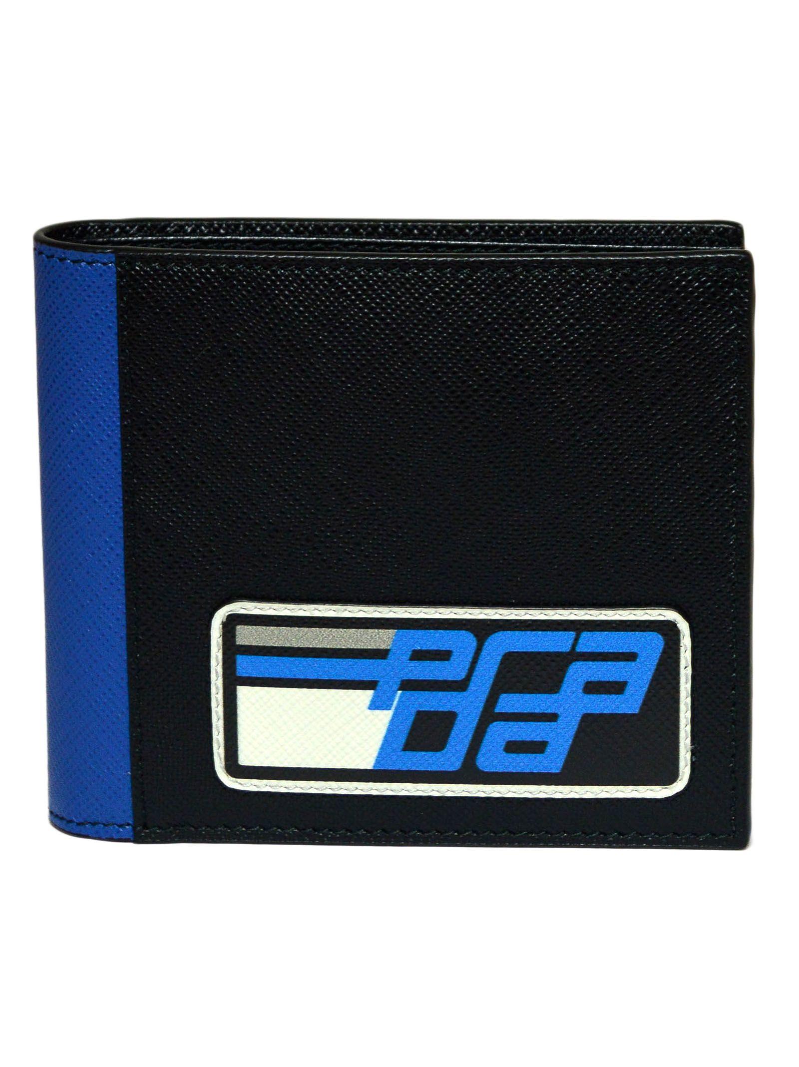 fa0027689d06 Prada Prada Logo Print Bi-fold Wallet - B Black Light Blue ...