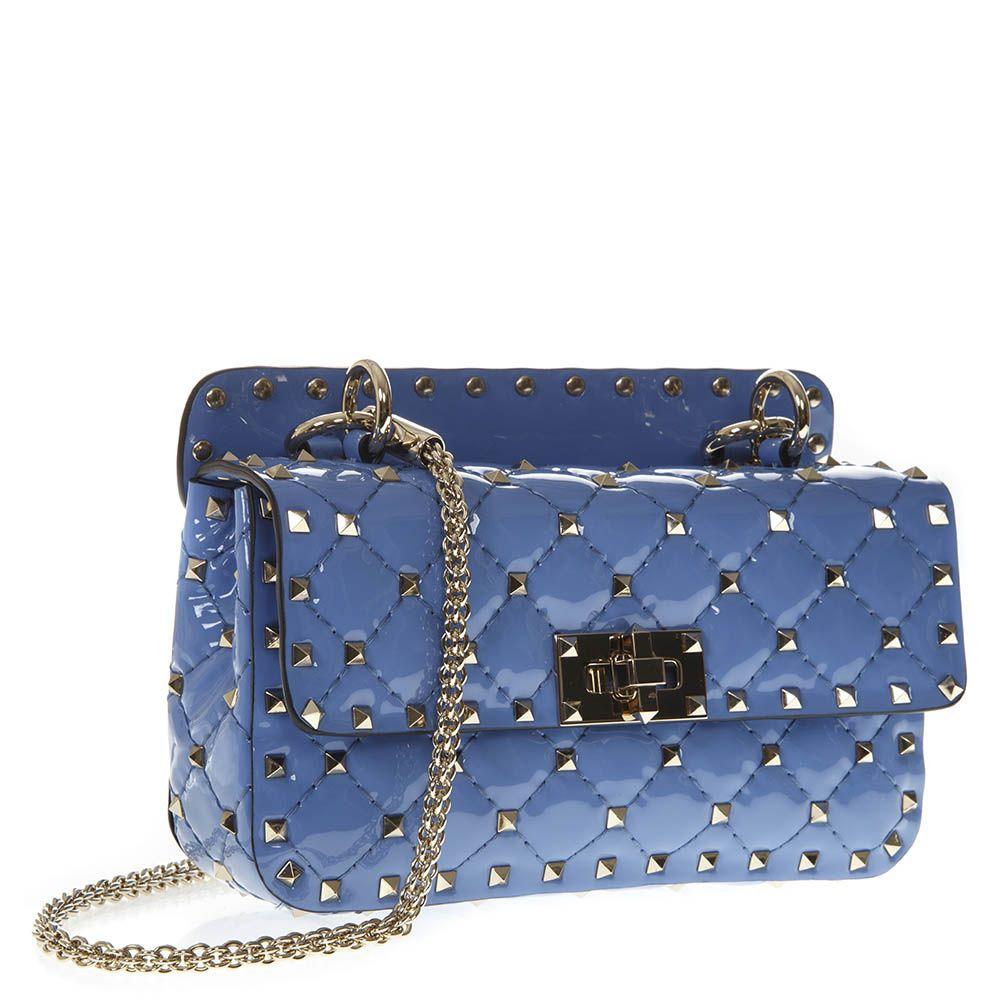 ... Valentino Garavani Rockstud Spike Small Light Blue Quilted Patent  Leather Bag - Light blue ... db782196cf