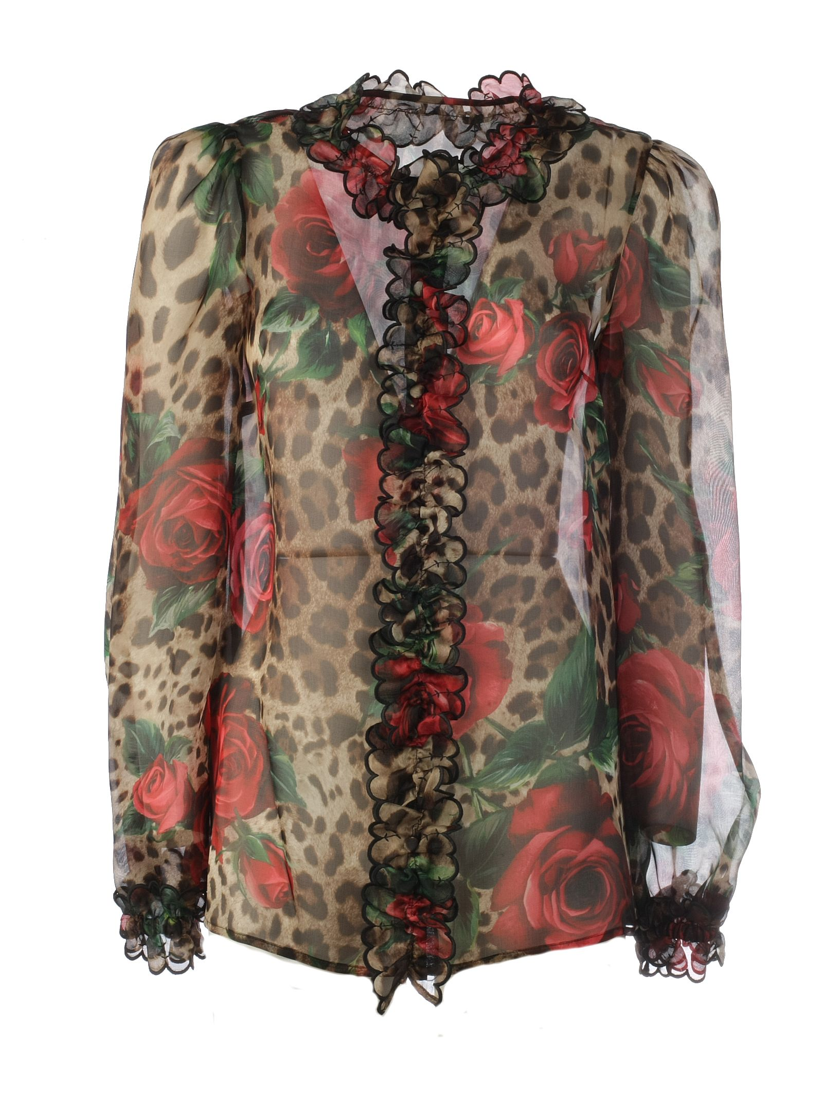 73a8368d20b Dolce & Gabbana Dolce & Gabbana Mixed-print Ruffled Blouse - Hkirs ...