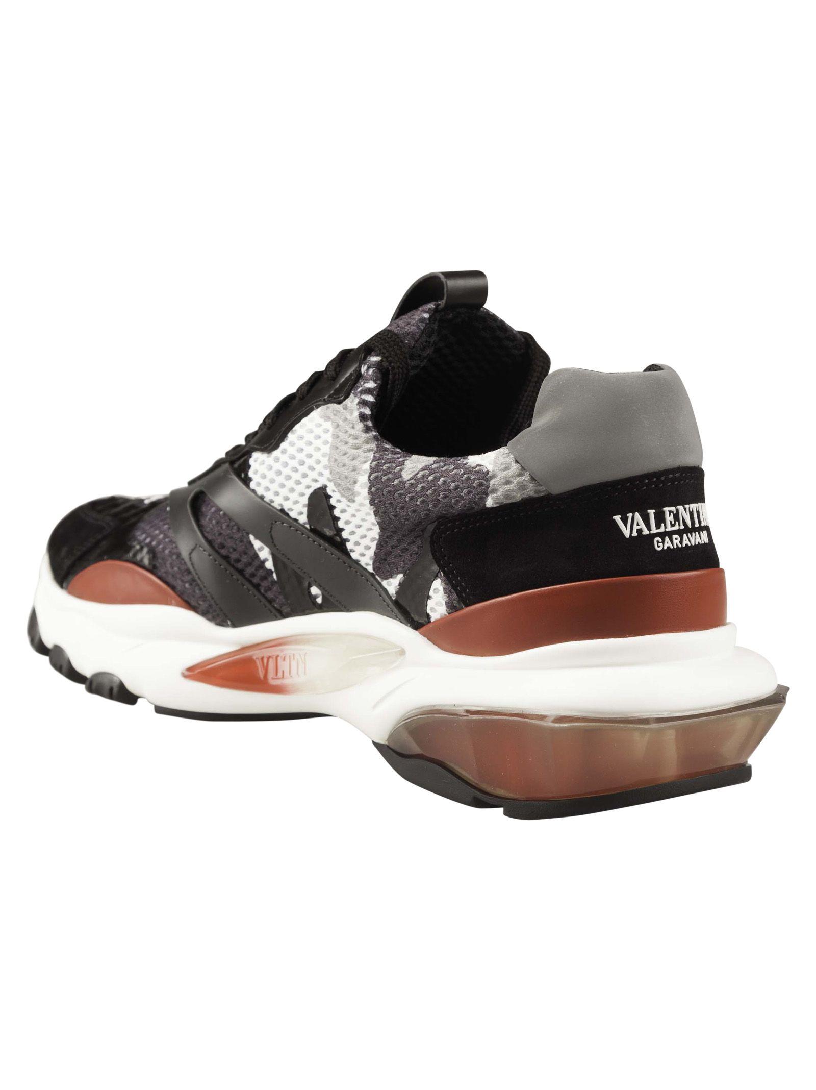 41564f57f3465 ... Valentino Garavani Camouflage Bounce Sneakers - Light Grey deep Grey