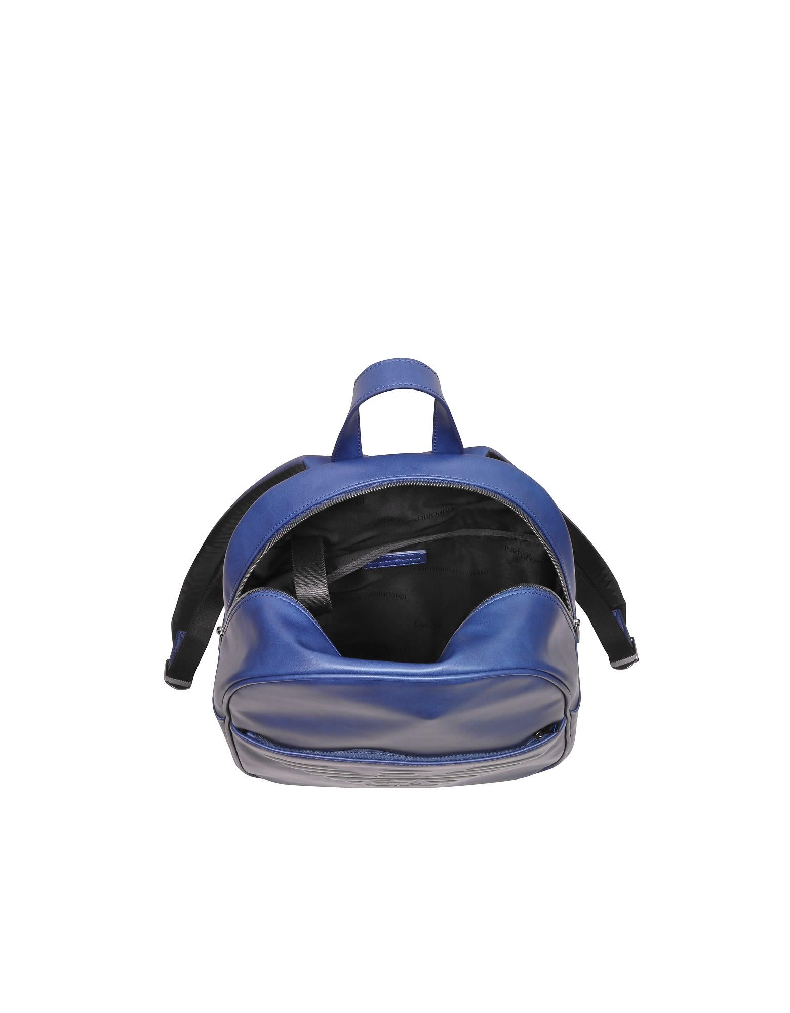 1d918e38f58c ... Emporio Armani Blue Eagle Embossed Eco Leather Men s Backpack - Blue