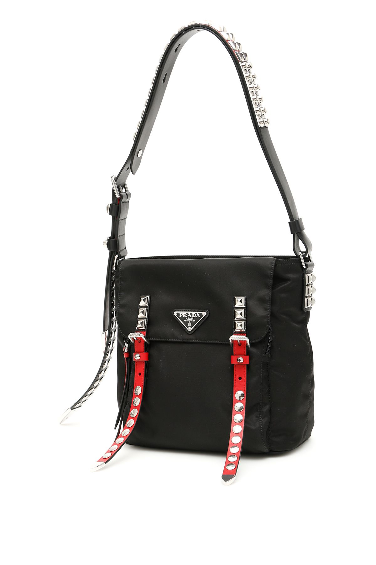 5b1ed45a553e Prada Prada Nylon Bucket Bag With Studs - NERO FUOCO