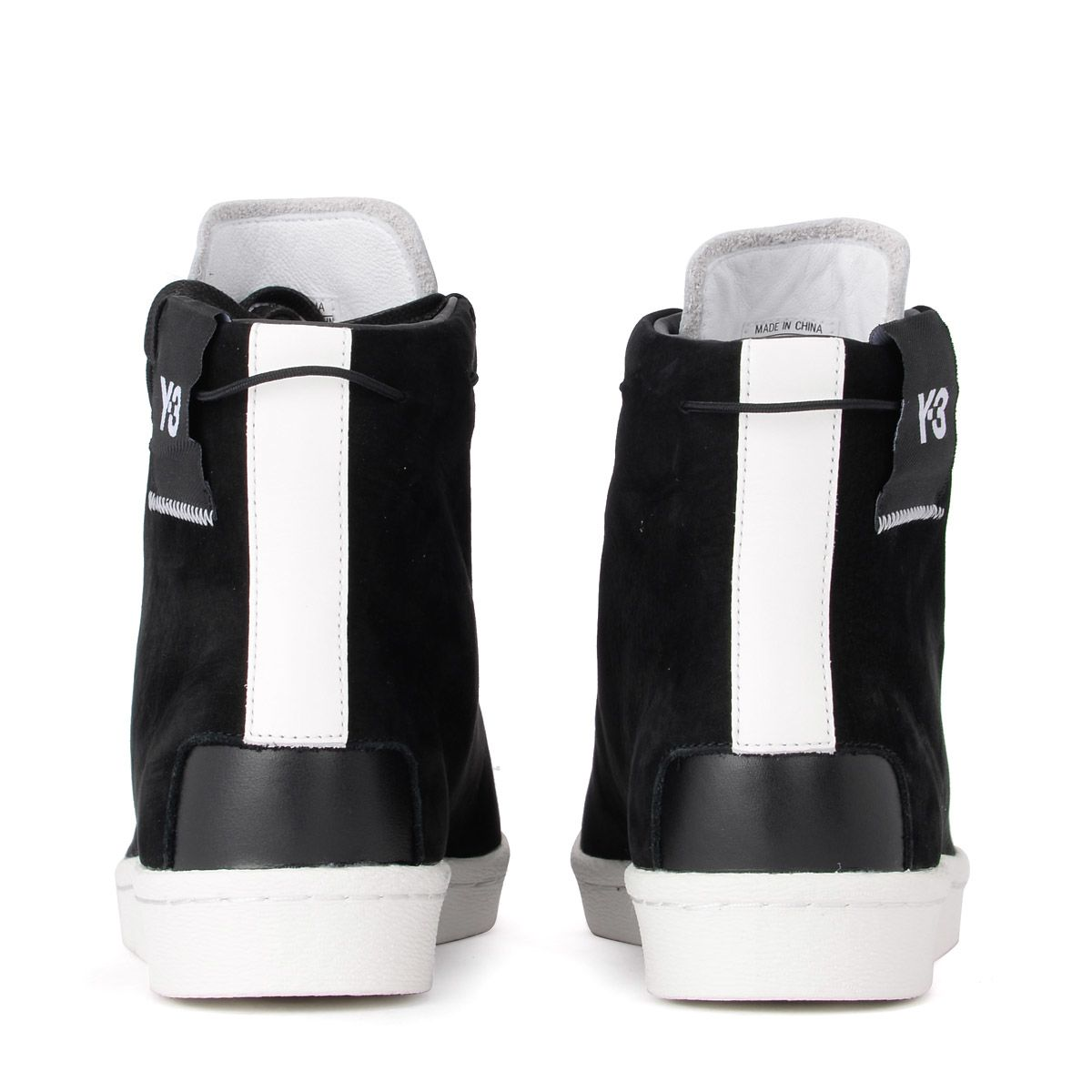 e094e1b6aff9 ... Y-3 Super High Black Suede And White Leather High Top Sneaker -  Multicolor ...