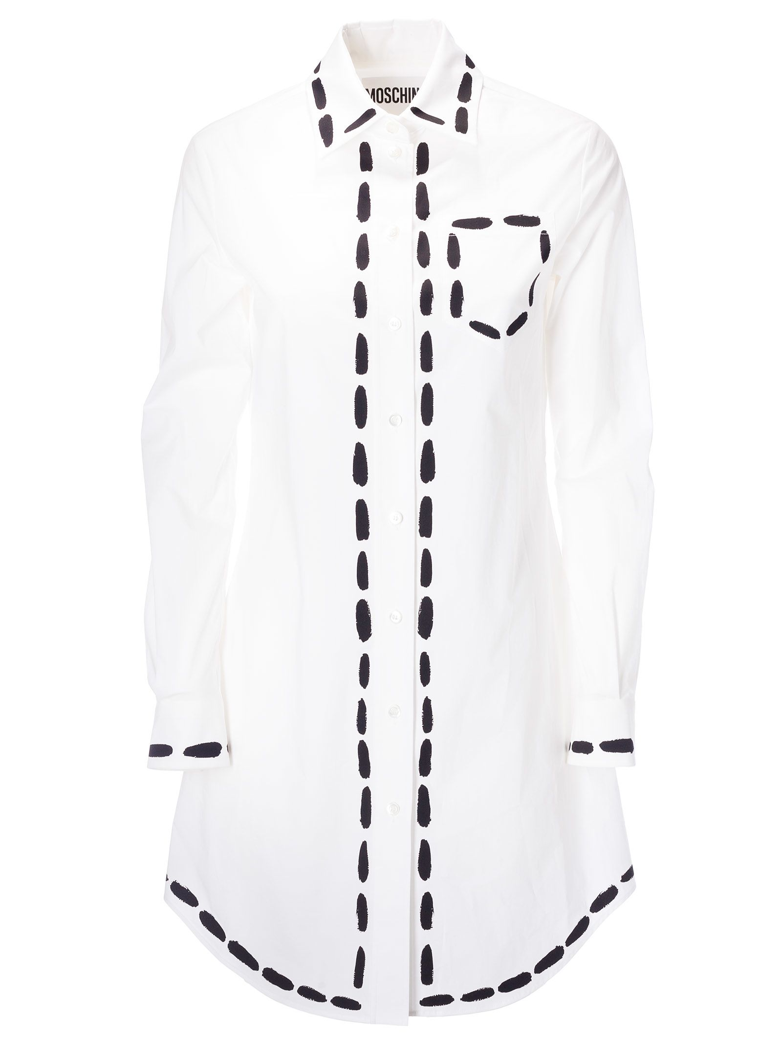 a79ad0ae06c6d Moschino Moschino Dotted Line Shirt Dress - White - 10876838 | italist