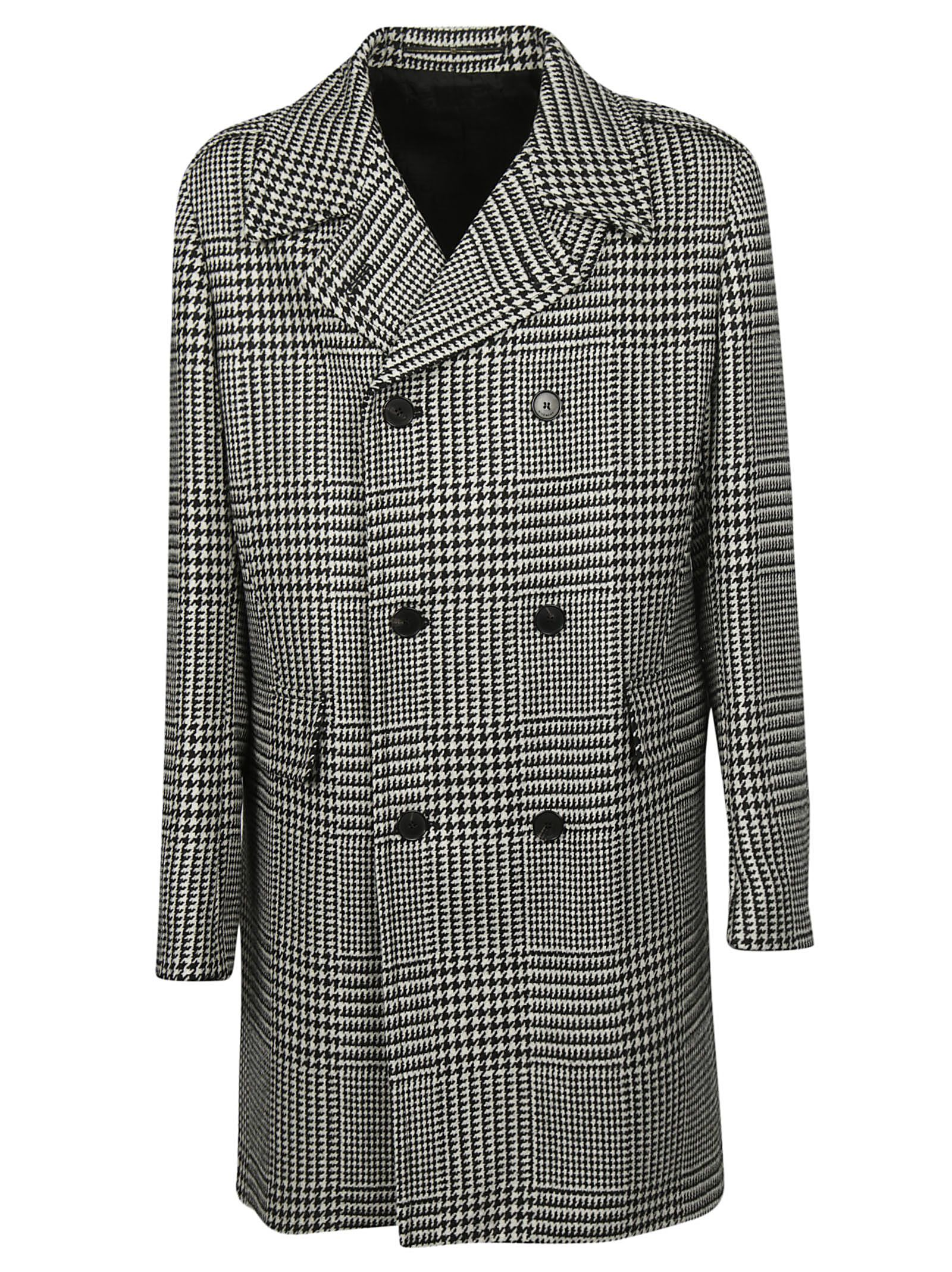 44af52c378d7 Givenchy Givenchy Houndstooth Double Breasted Coat - Black ...